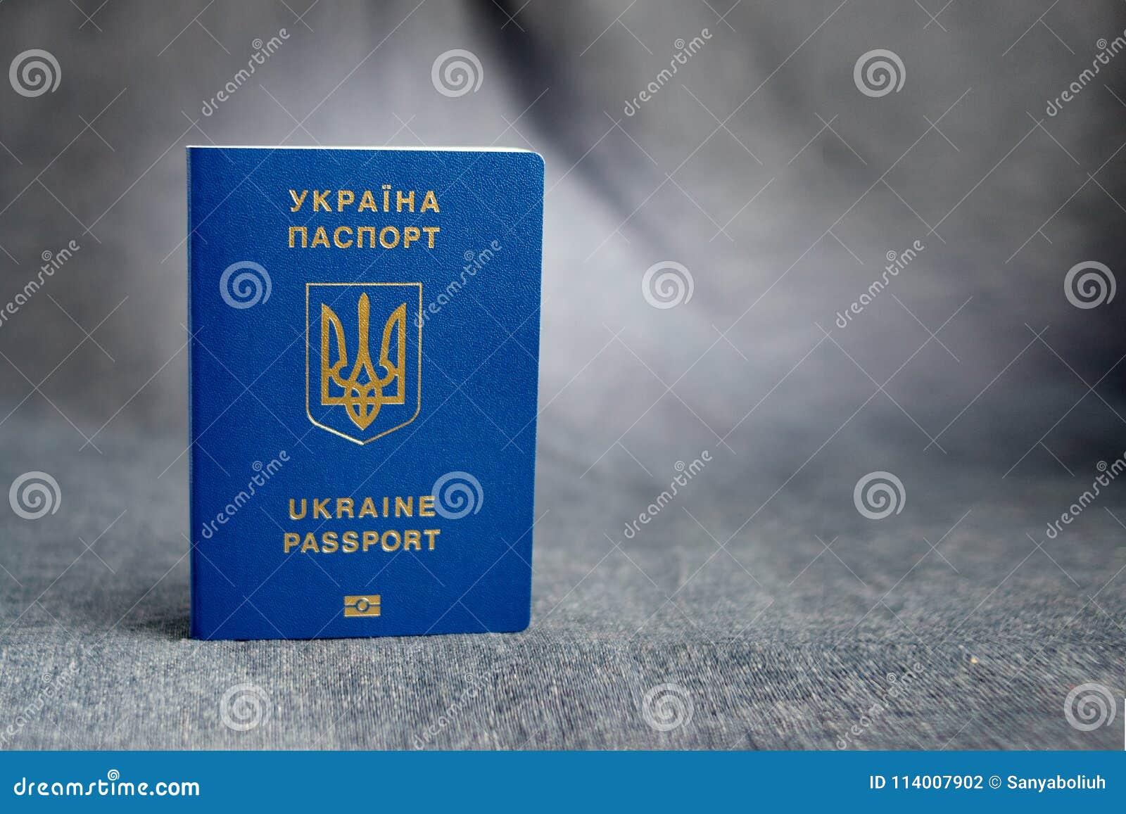 在灰色背景的乌克兰生物统计的护照
