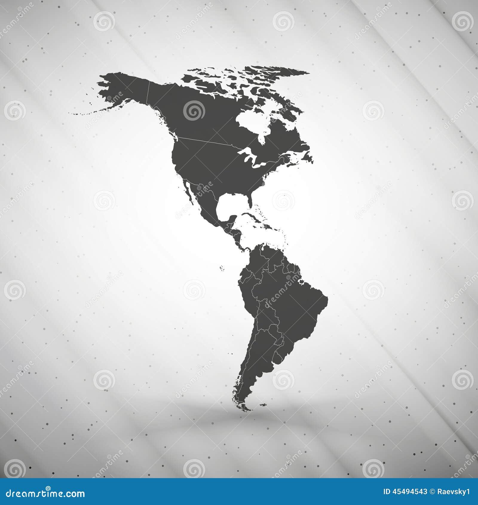 在灰色背景的北部和南美地图,