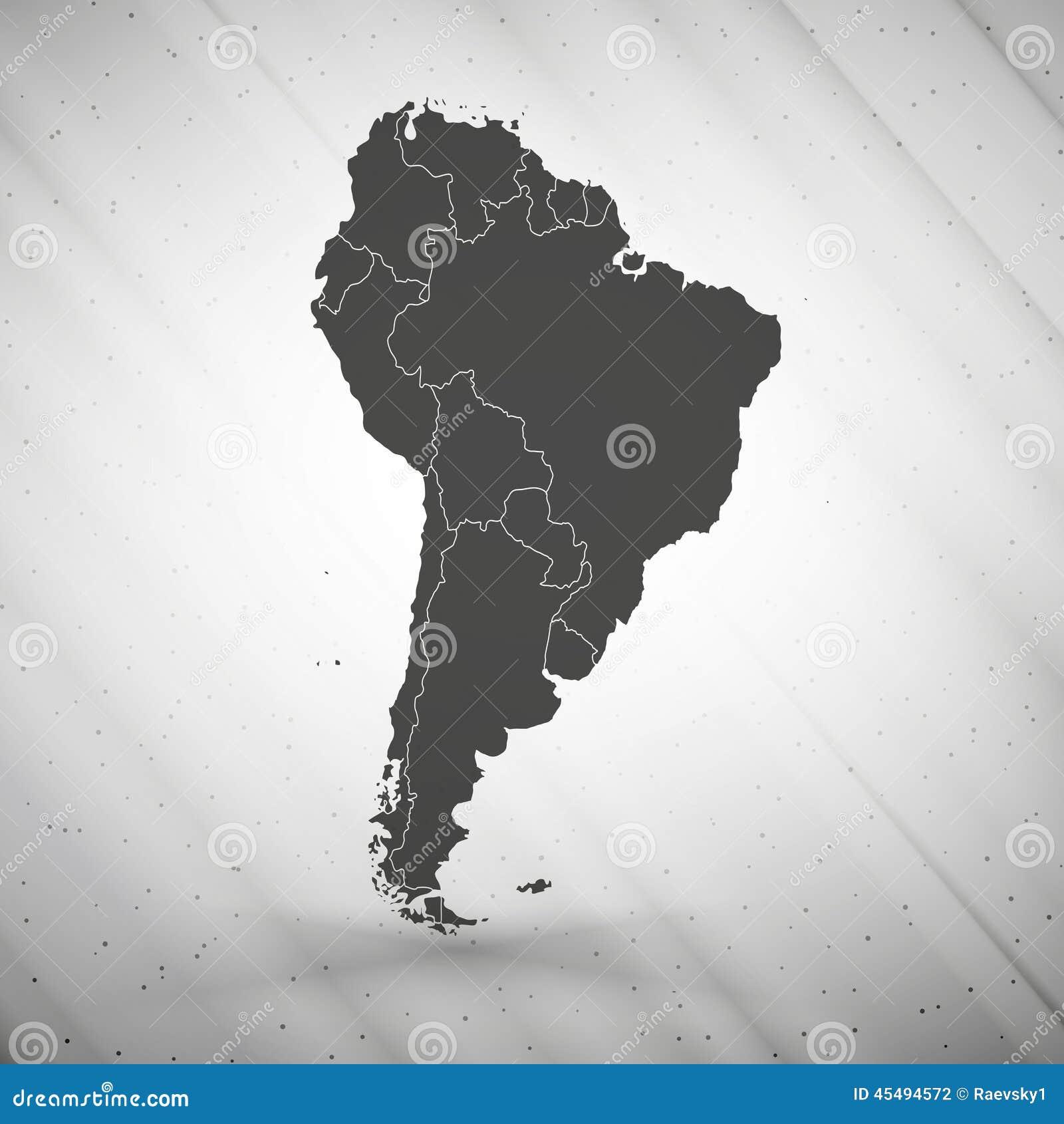 在灰色背景,难看的东西的南美地图