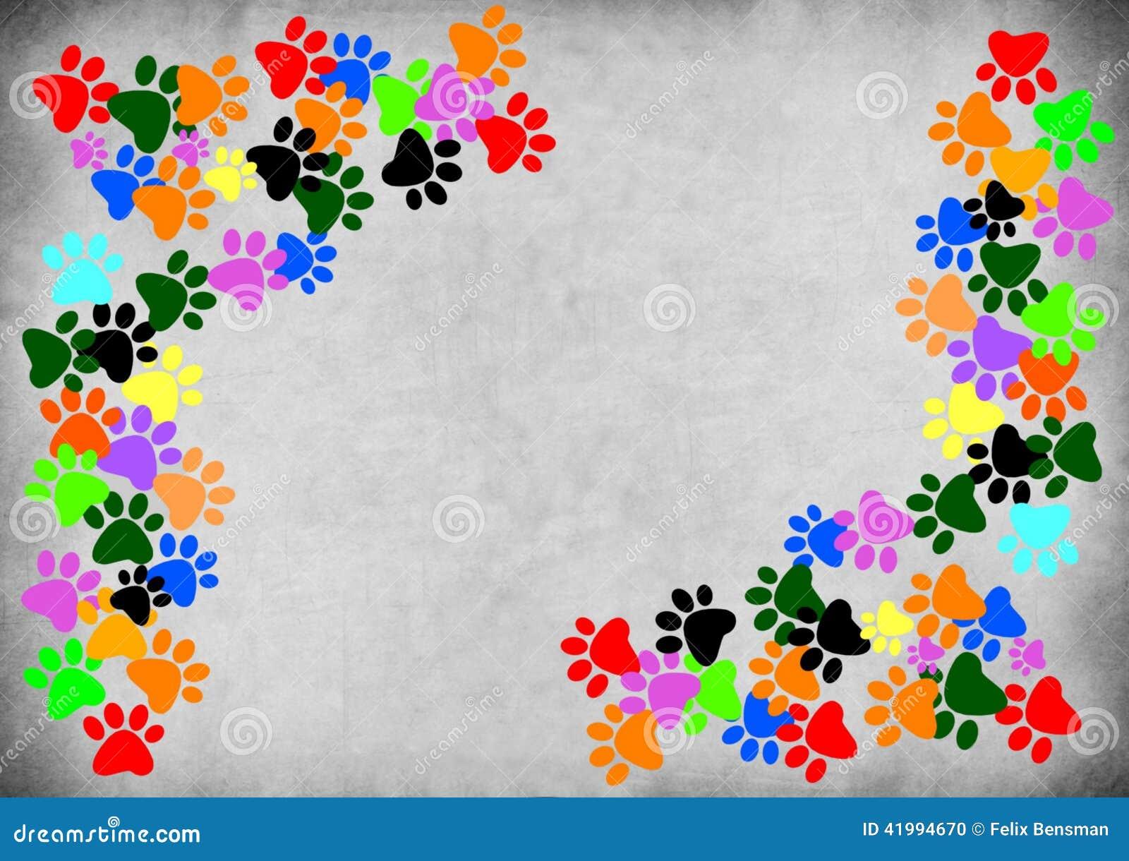 在灰色难看的东西背景的色的pawprints