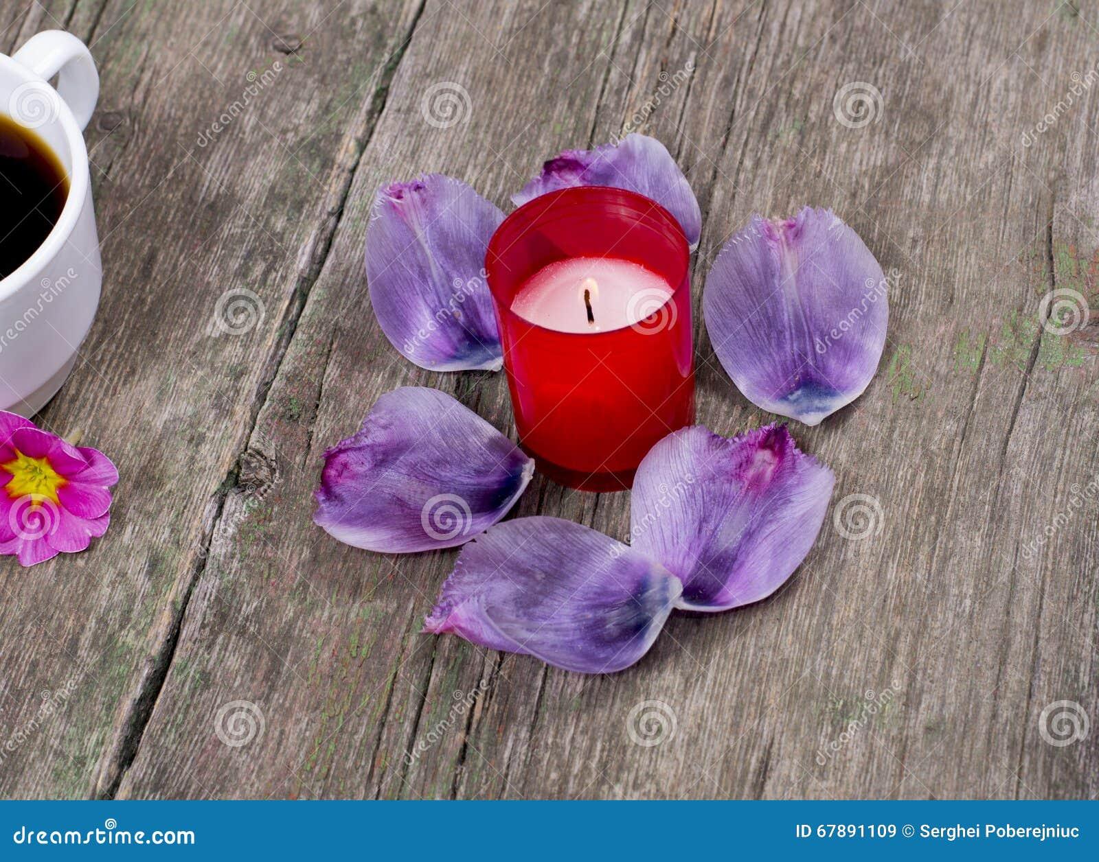 在灼烧的红色蜡烛附近的淡紫色瓣