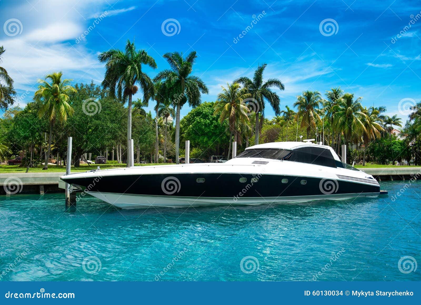 在热带海岛附近的豪华速度游艇在迈阿密,佛罗里达