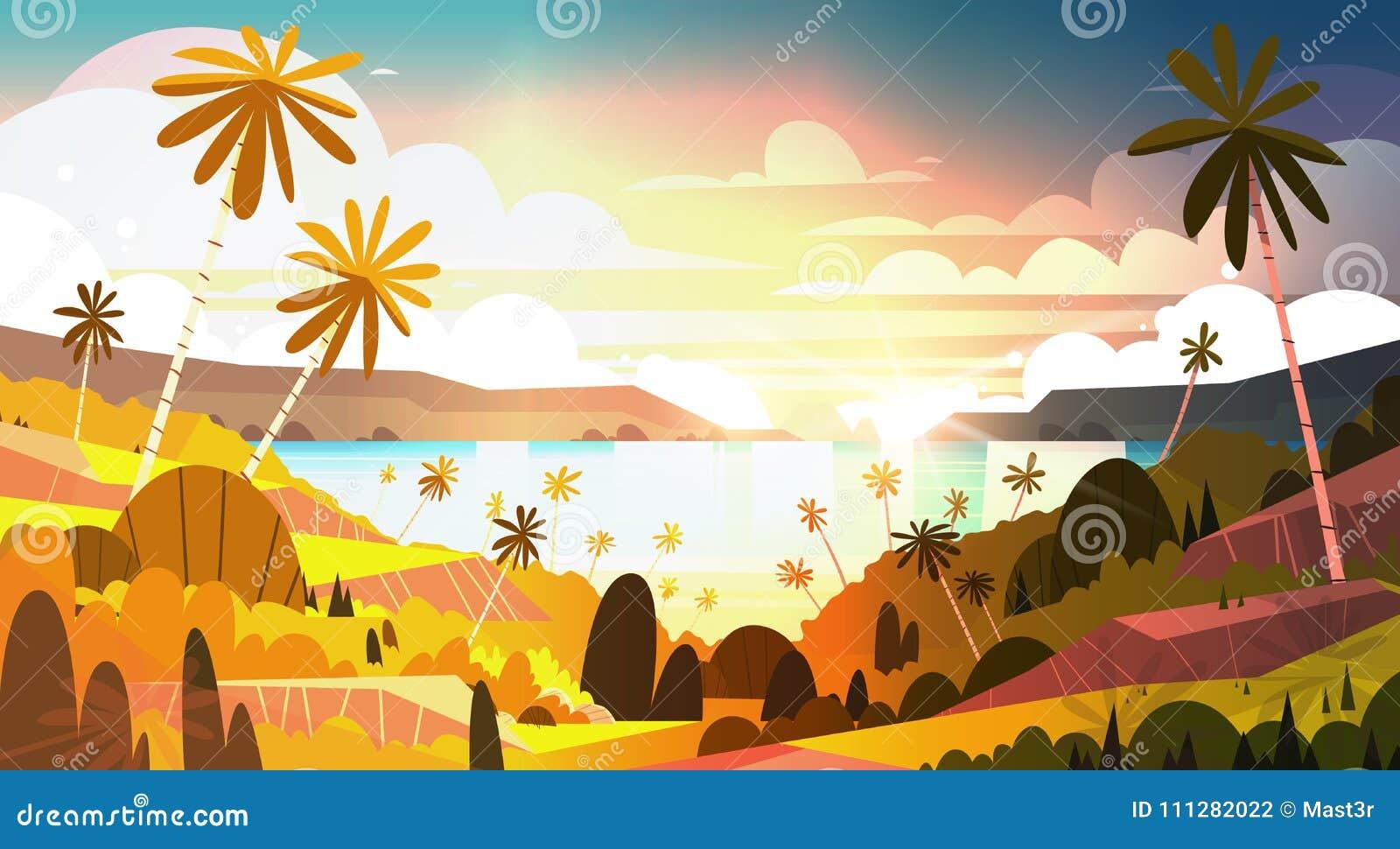 在热带海滩美丽的风景夏天海边的日落与棕榈树海报