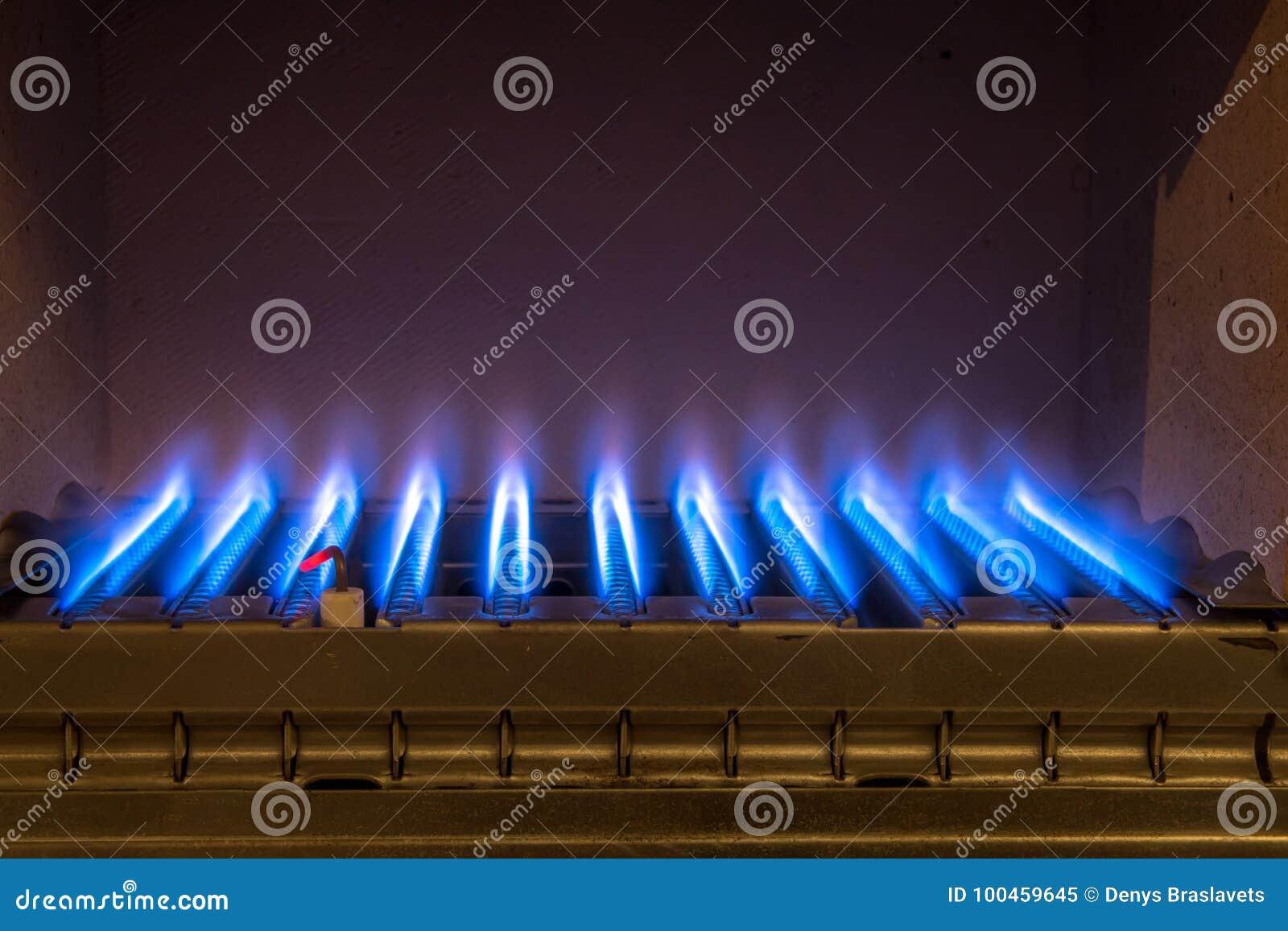 在燃气锅炉里面的气体火焰
