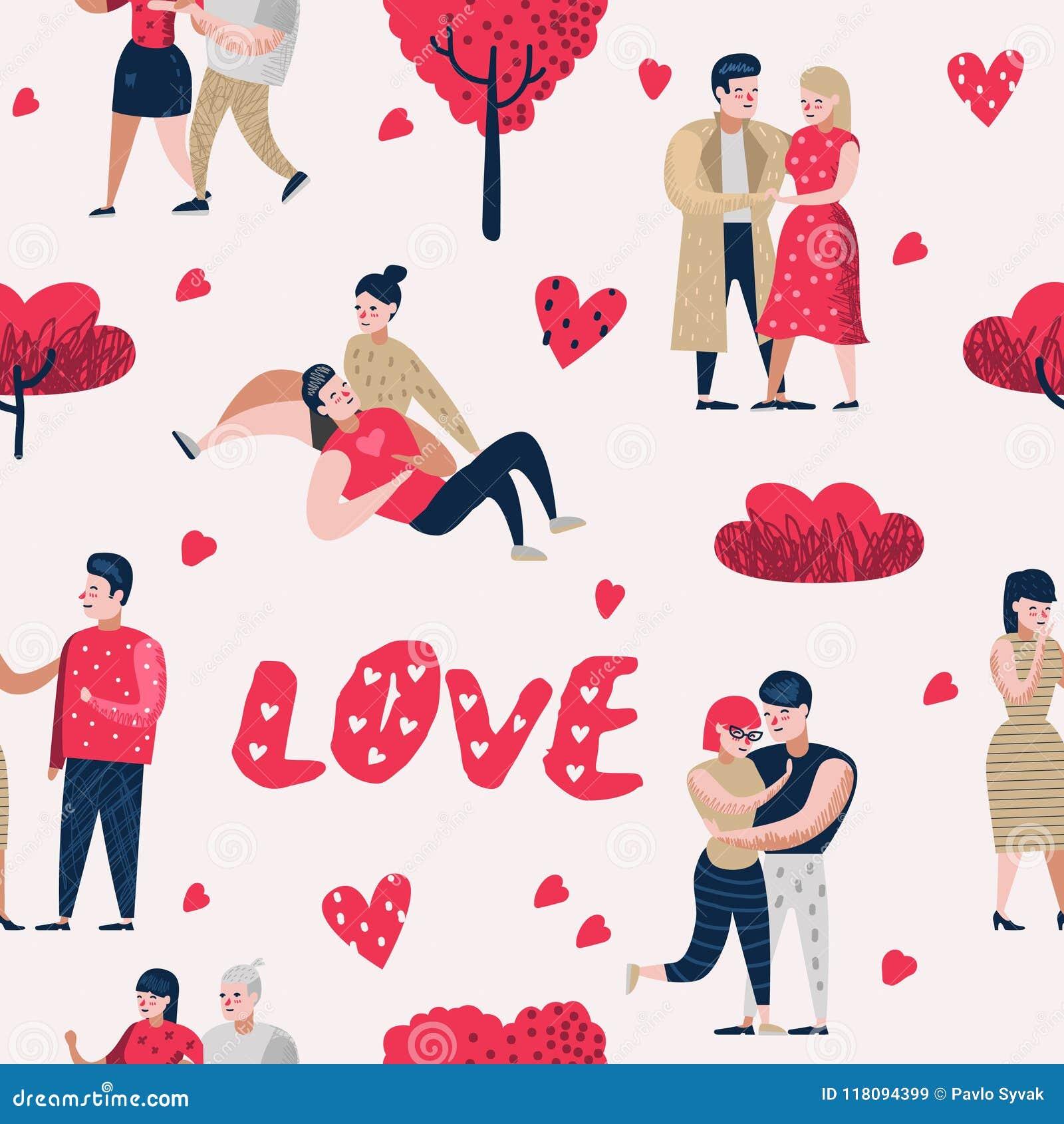 在爱漫画人物人无缝的样式的夫妇 与心脏和浪漫元素的情人节背景