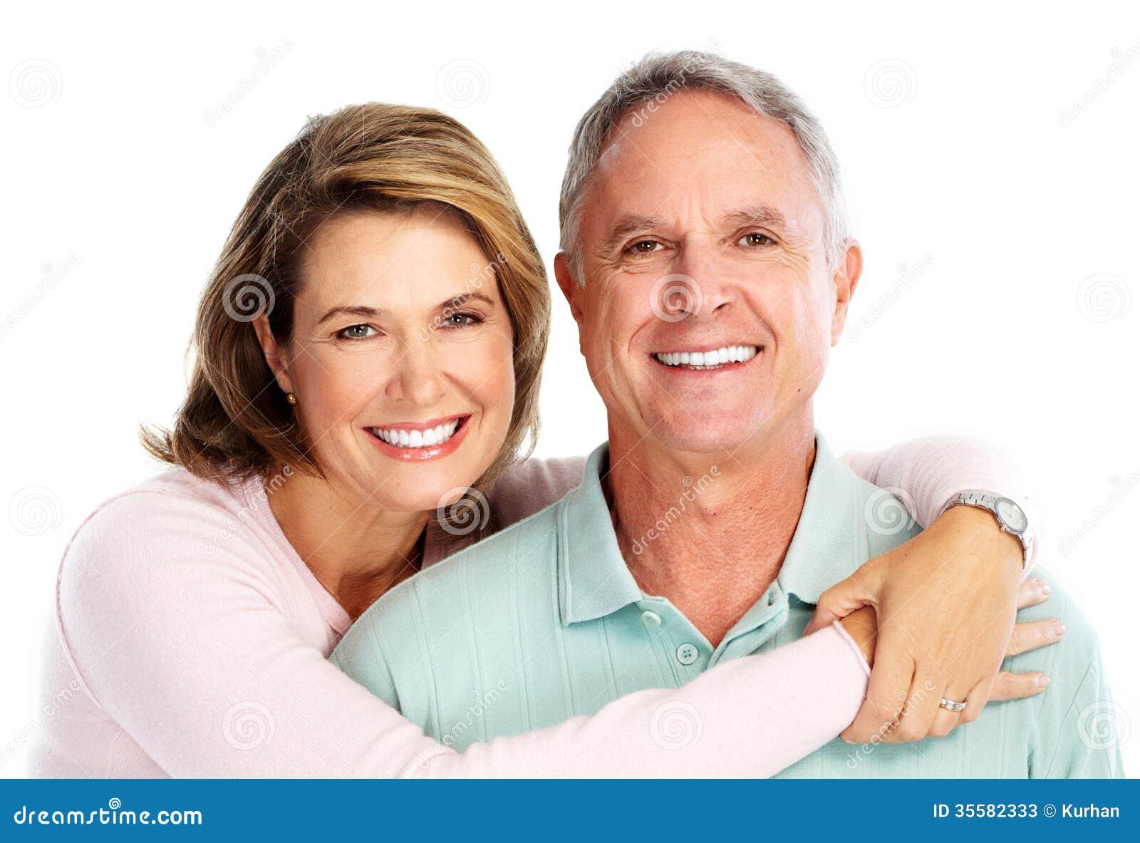 在爱的愉快的资深夫妇。