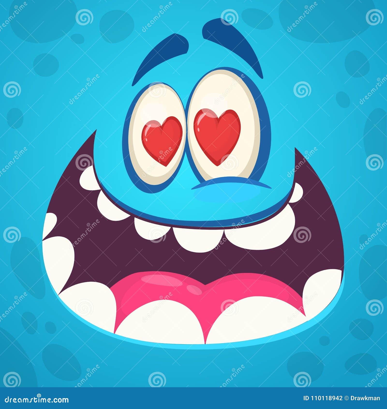 在爱的滑稽的动画片妖怪面孔 也corel凹道例证向量 设计为圣华伦泰` s天