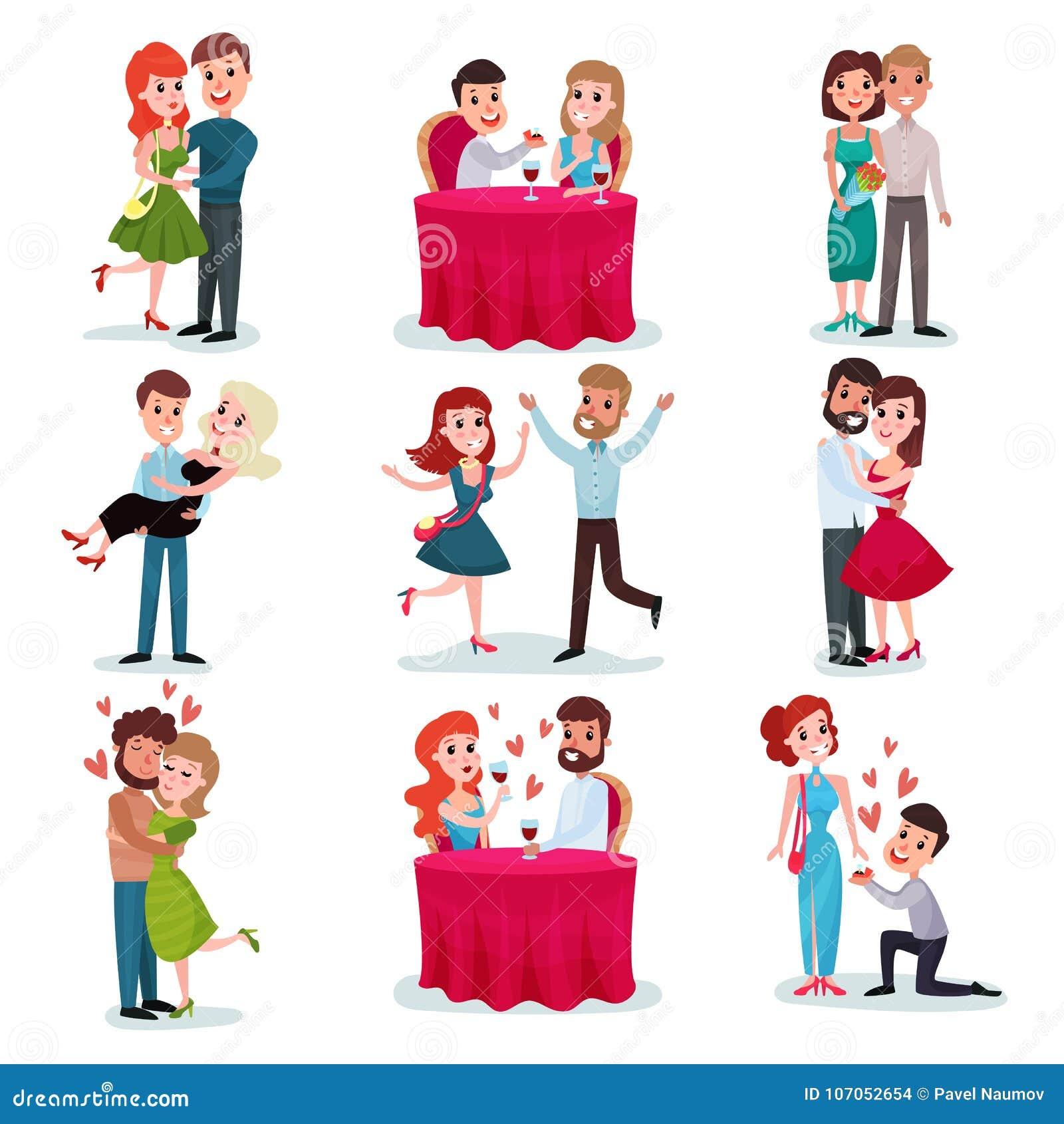 在爱集合的夫妇,愉快的恋人在日期,在浪漫晚餐,拥抱的和跳舞的动画片传染媒介例证