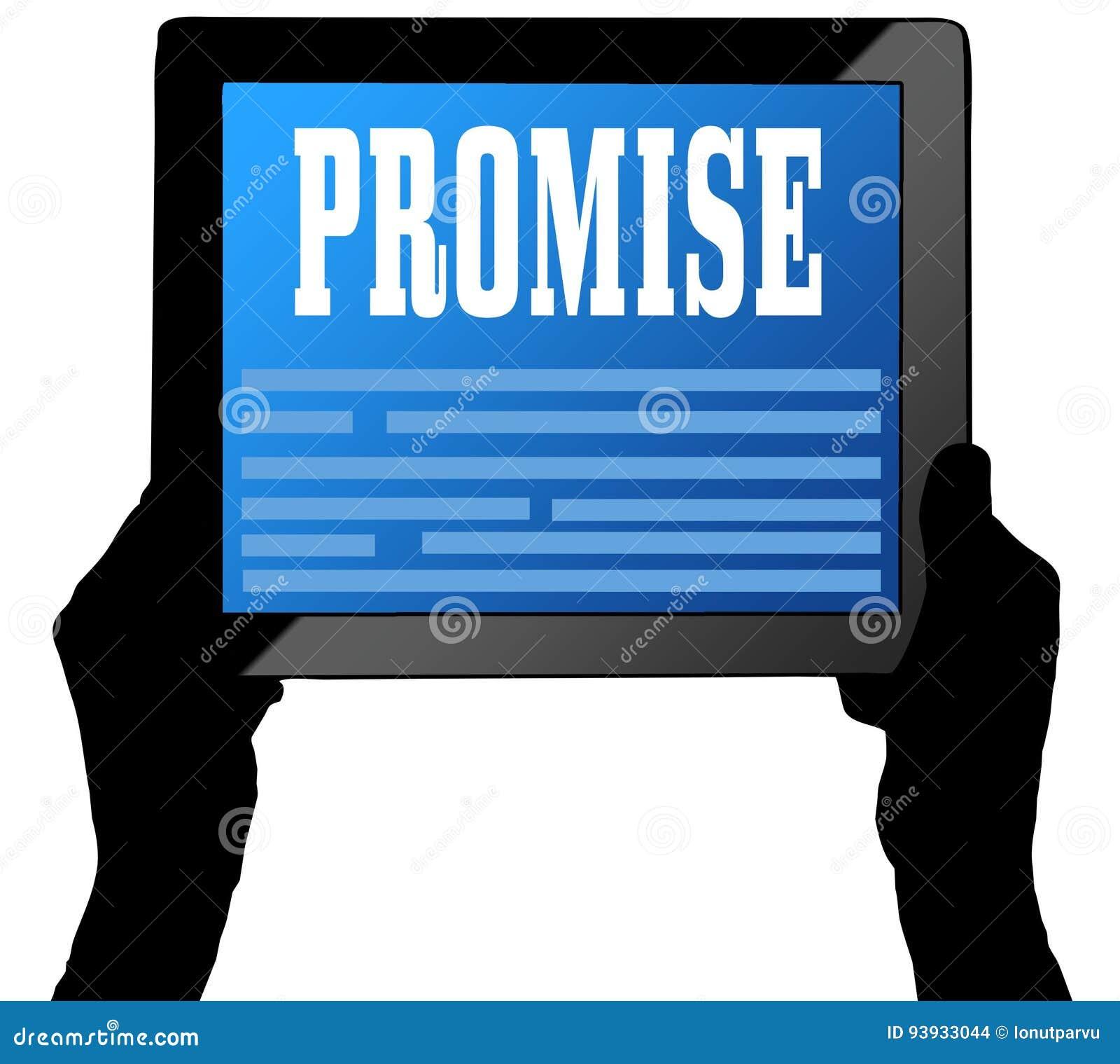 在片剂屏幕上的诺言,举行由两只手