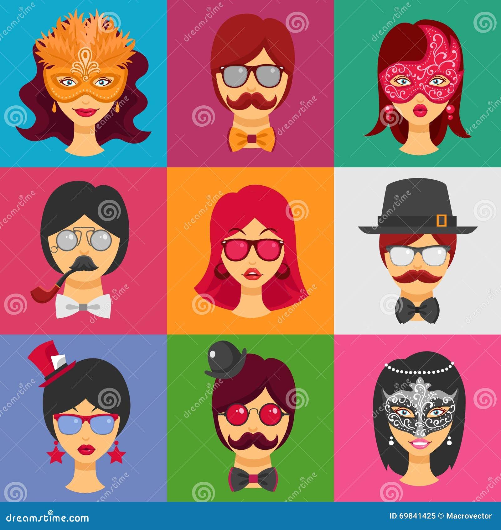 在狂欢节面具的人面孔