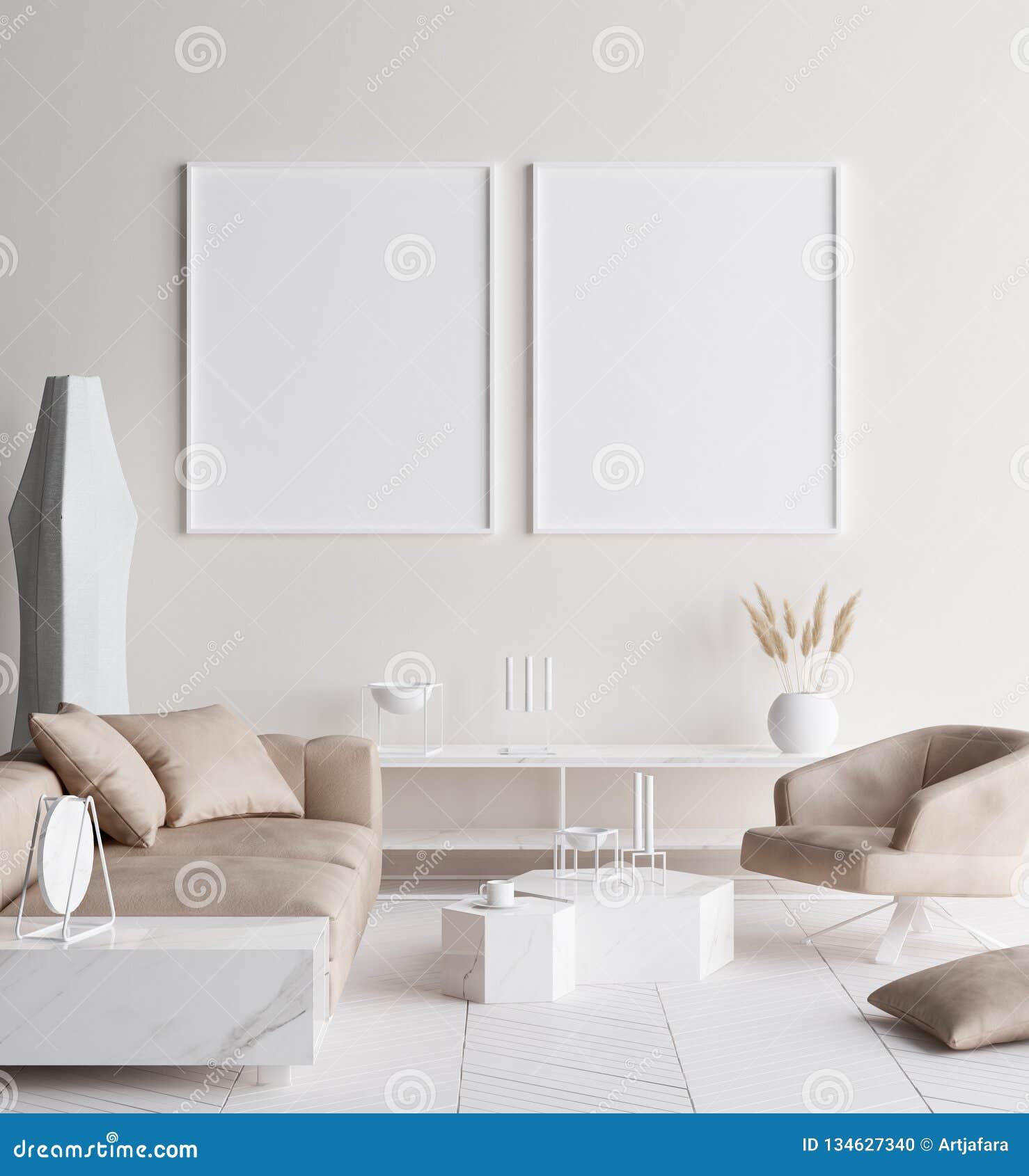 在现代家庭内部的假装海报框架 斯堪的纳维亚样式