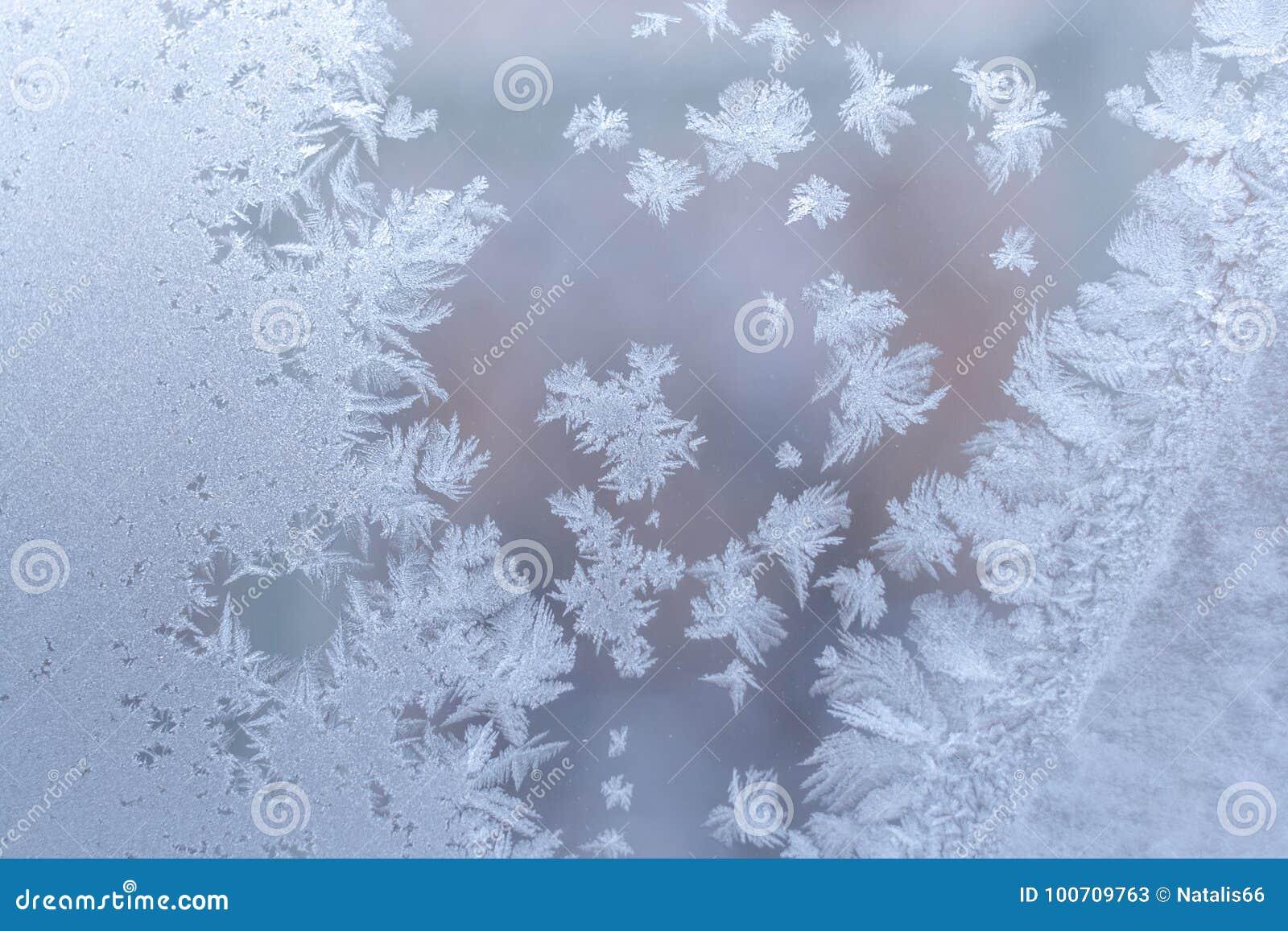 在玻璃窗的柔和的优美的冷淡的样式在冬天
