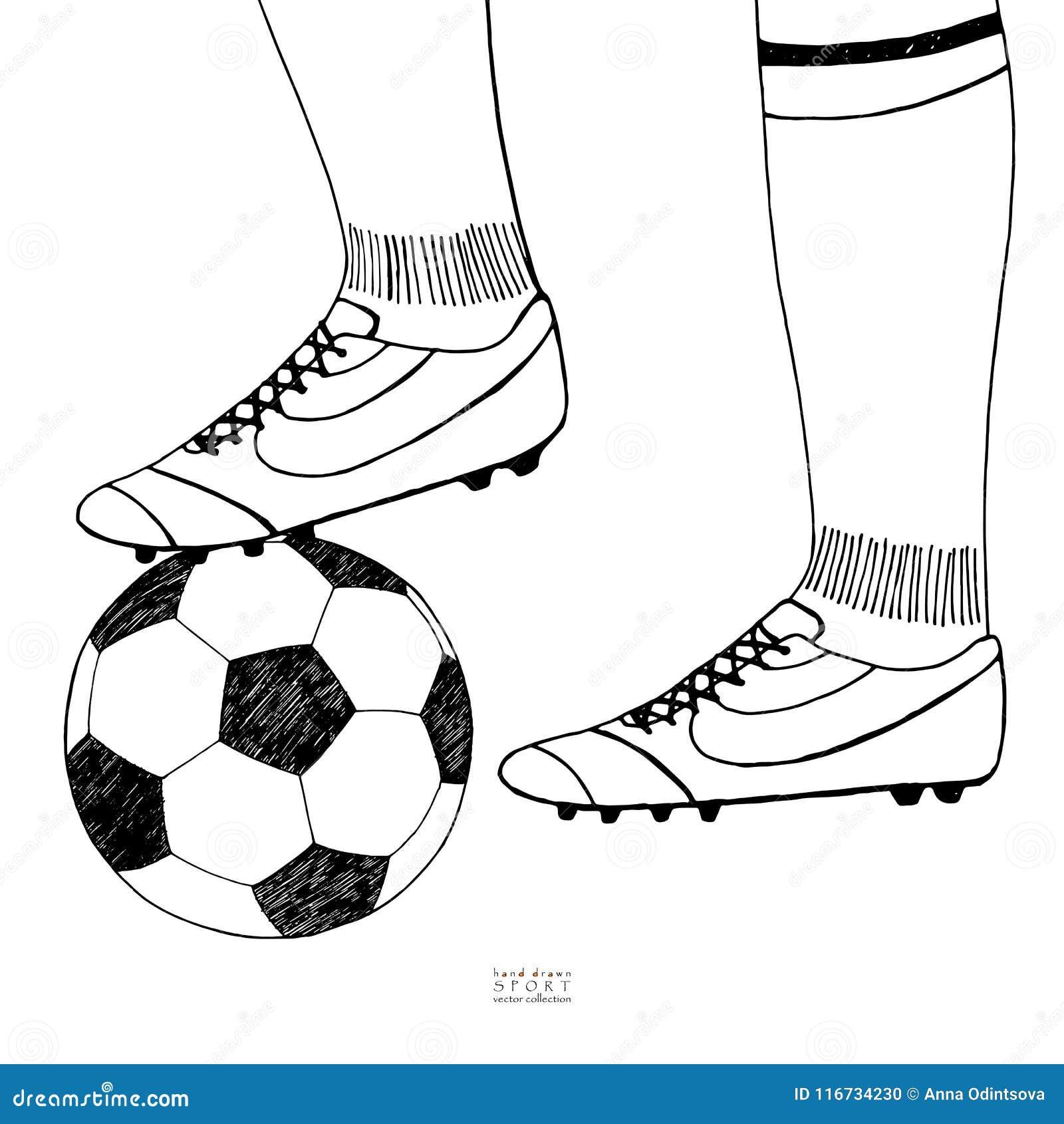 在球员起动下的足球 手拉的草图 在白色背景的黑线 体育汇集传染媒介例证