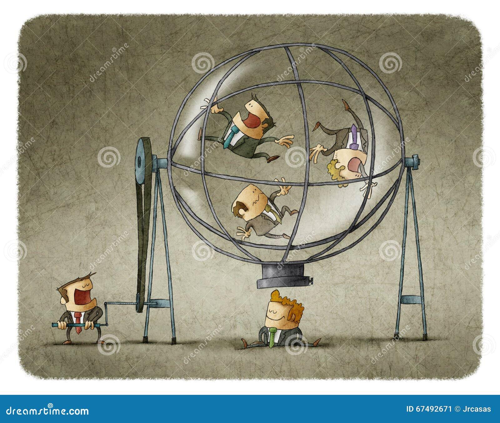 在球形的主任转动的商人