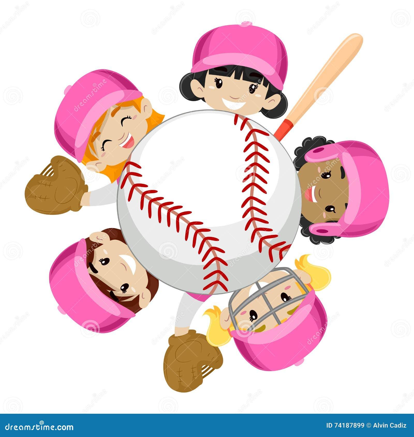 在球附近的棒球队女孩
