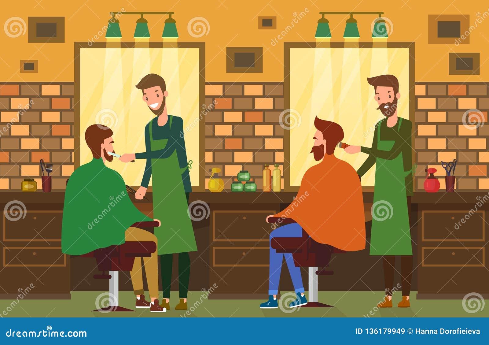 在理发店沙龙的室内看法与理发师