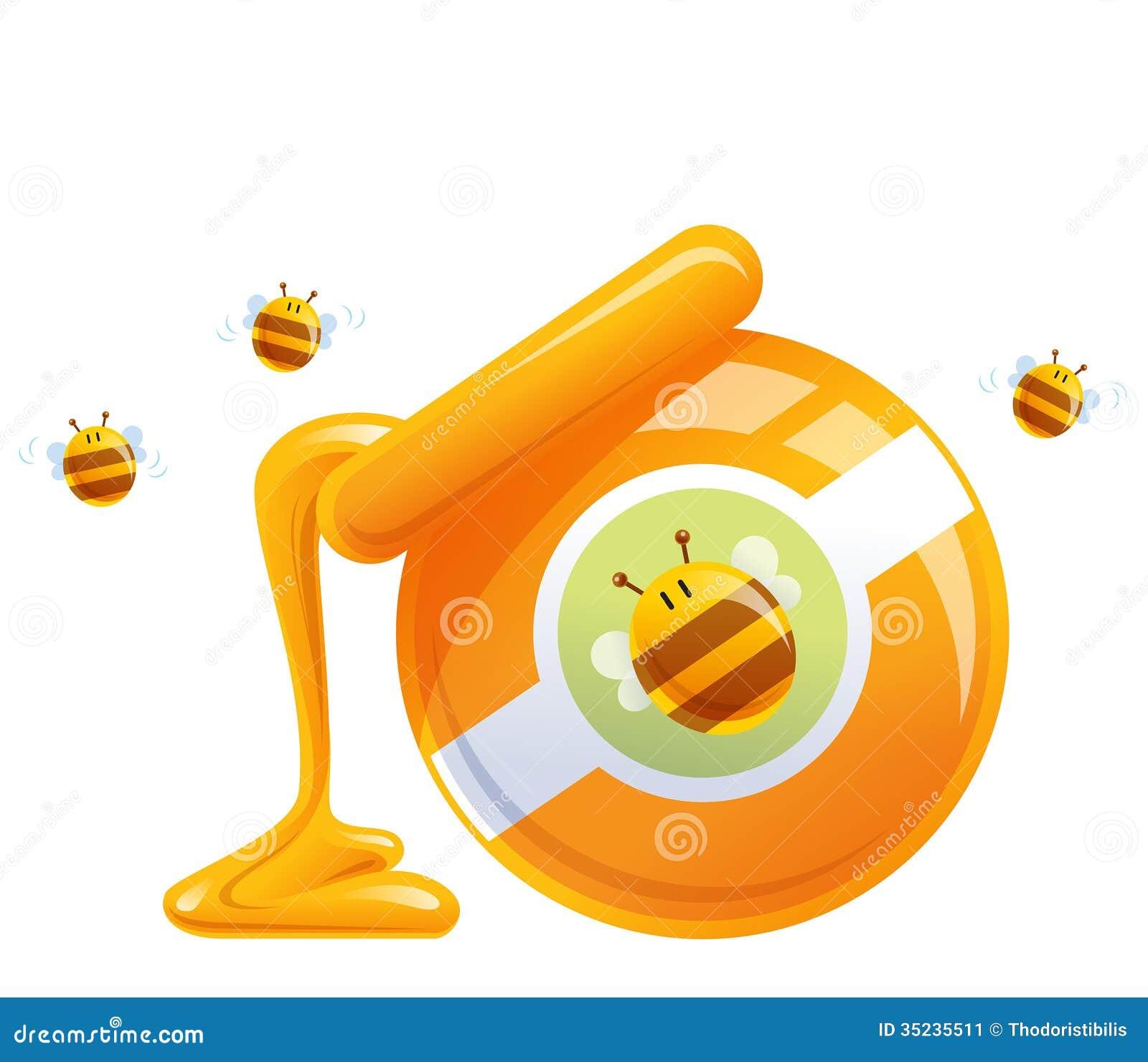 在瓶子滴下和蜂的动画片自然橙色蜂蜜