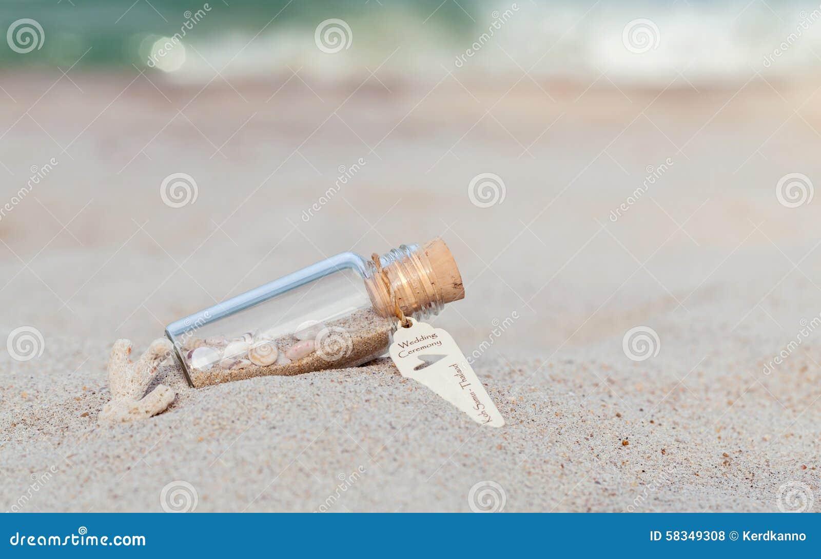 在瓶的沙子和海壳投入了海滩