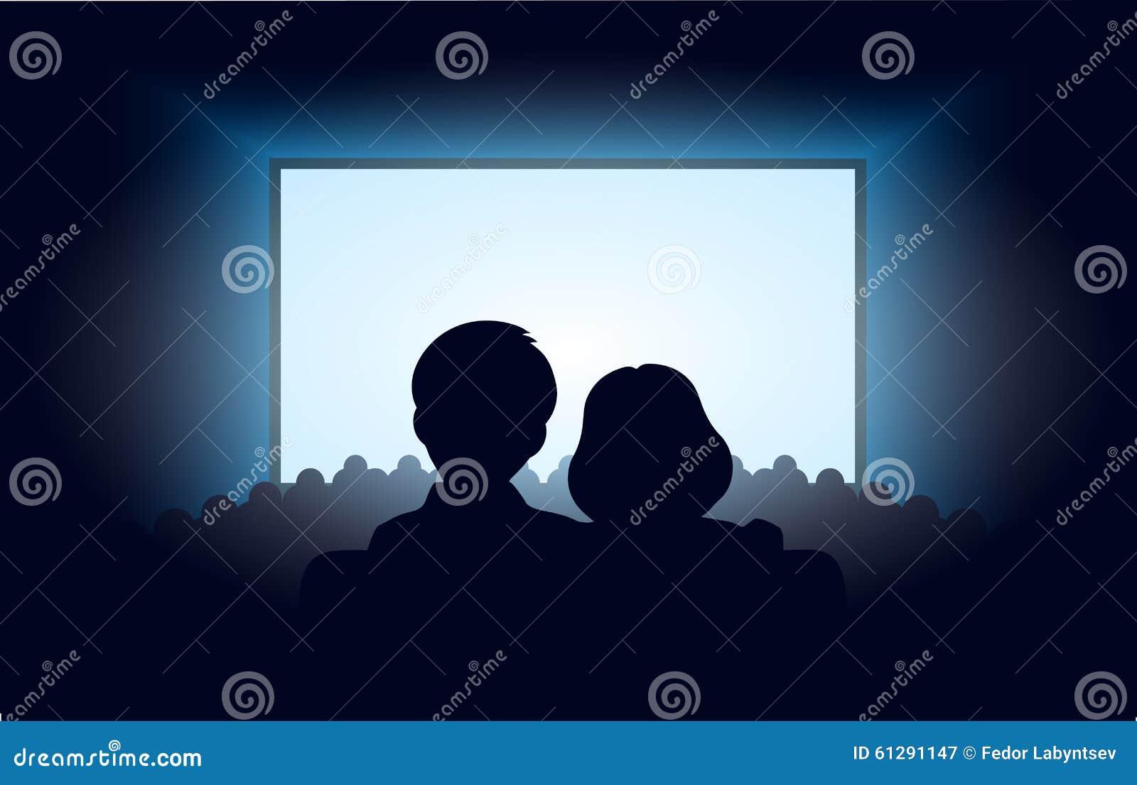 在电影院现出轮廓一对爱恋的夫妇