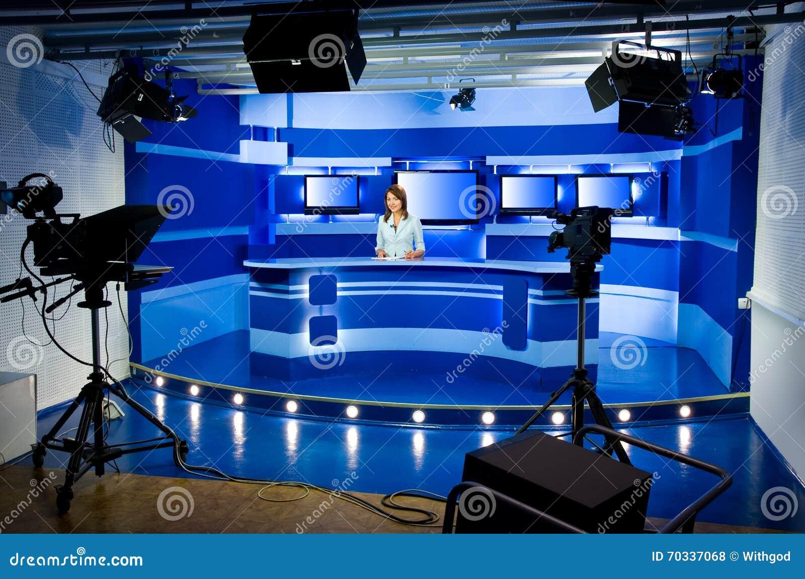 在电视演播室的录音