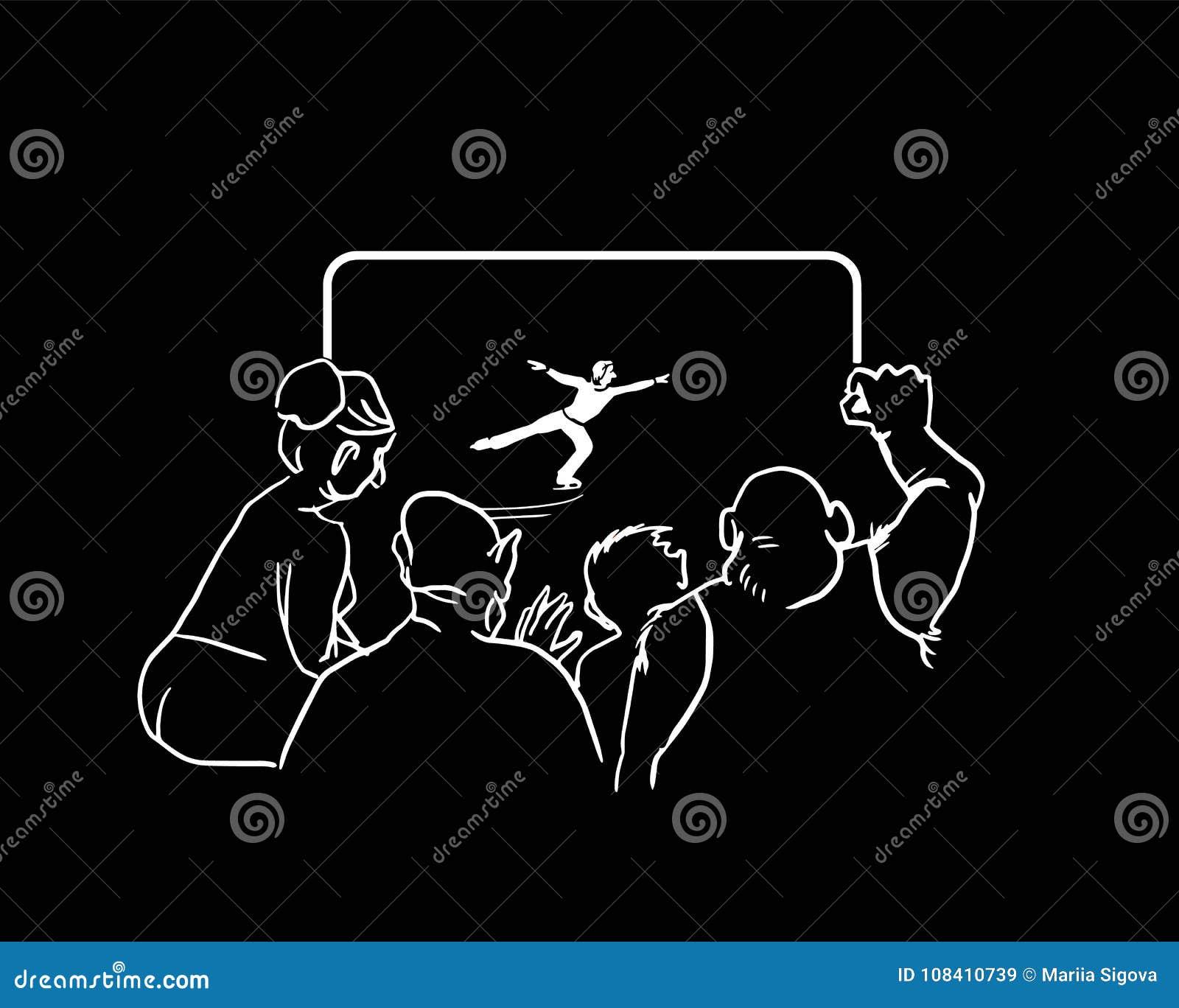 在电视的人观看的冰花样滑冰 也corel凹道例证向量