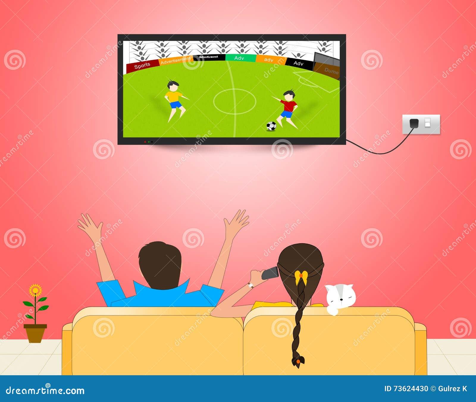 在电视的观看的足球比赛
