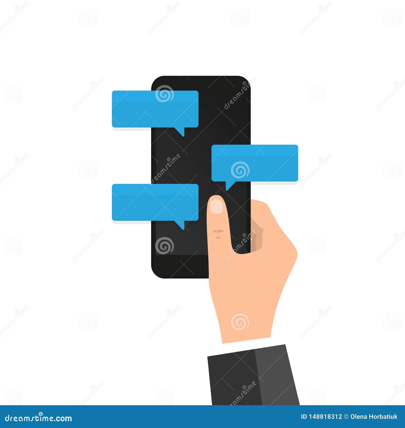 在电话平的设计消息泡影的新的闲谈消息通知在屏幕,聊天在机动性的人上 人的具体化