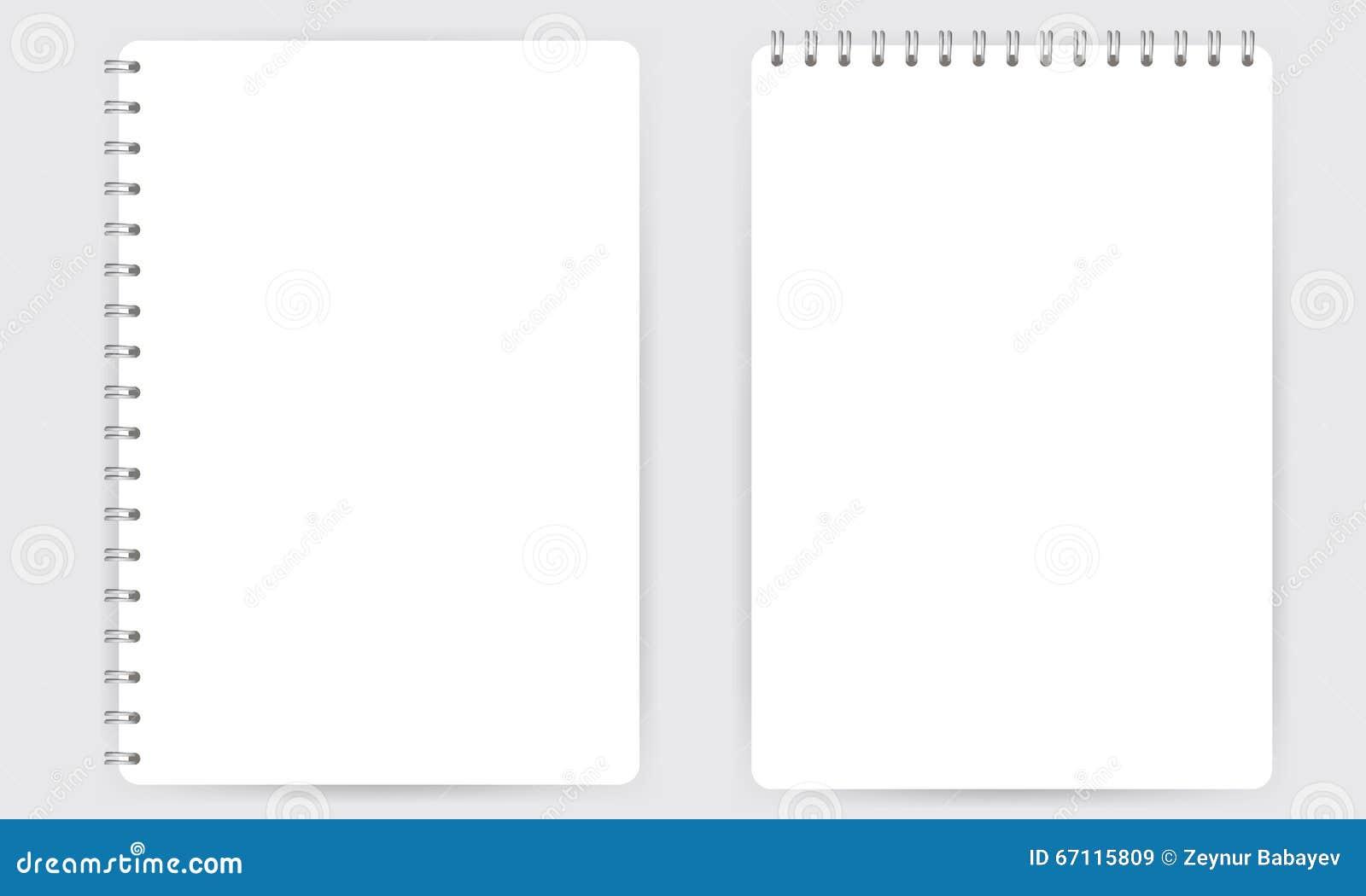 在白色传染媒介隔绝的空白的现实螺旋笔记薄笔记本
