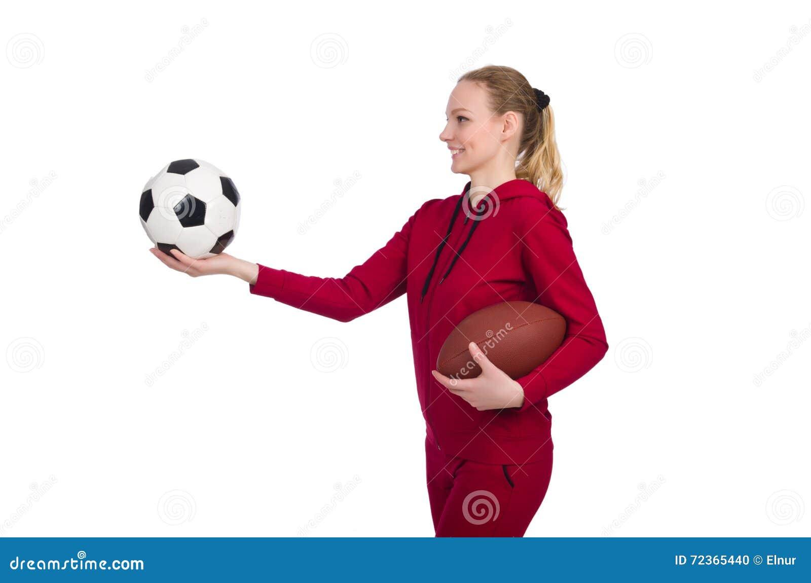 在白色体育概念的妇女隔绝的