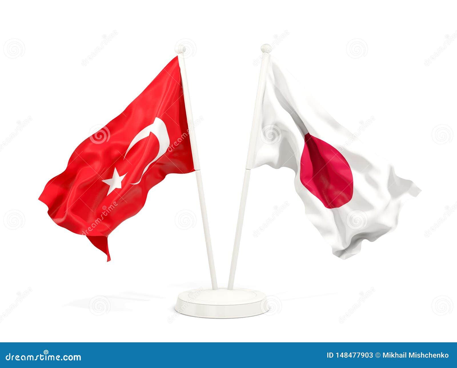 在白色和日本的隔绝的两面挥动的旗子土耳其
