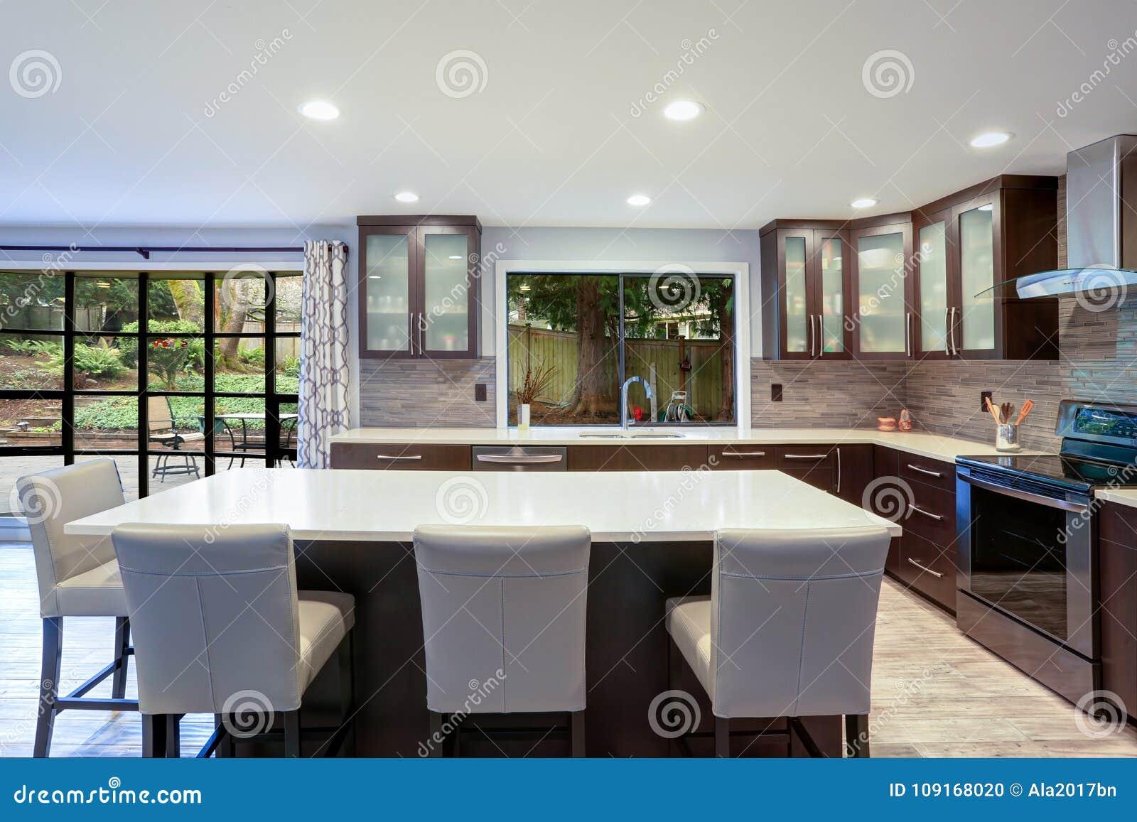 在白色和棕色口气的更新当代厨房室内部