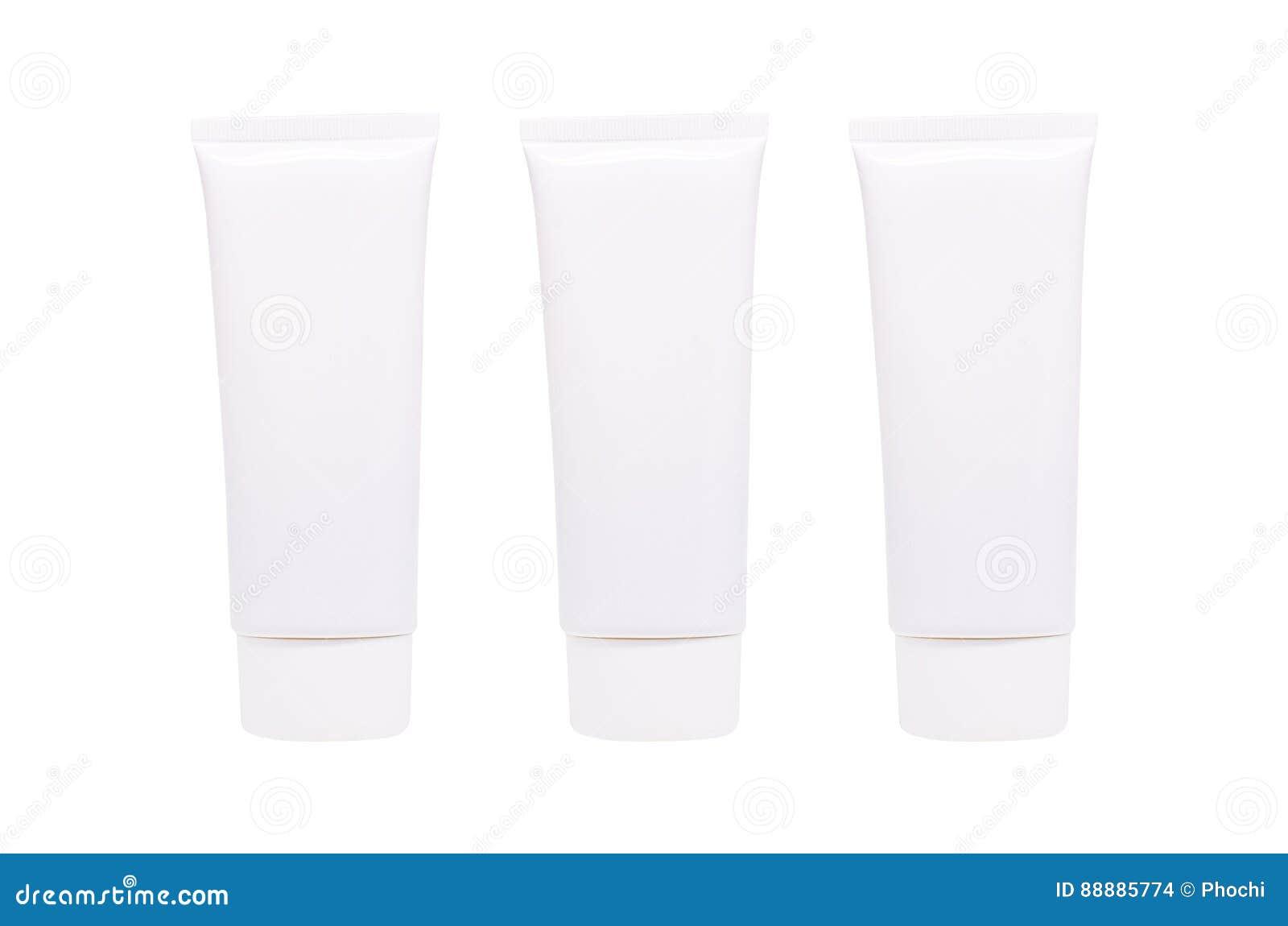 在白色或胶凝体隔绝的空白的白色化妆管盒奶油