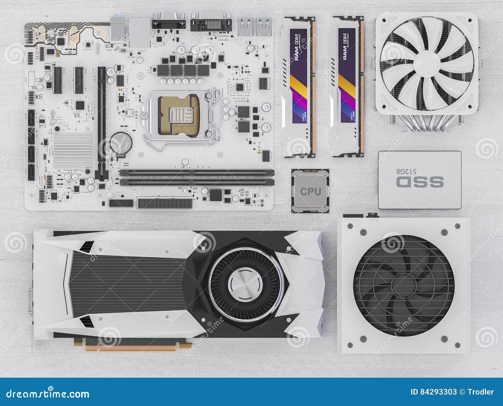 在白色木头的个人计算机硬件组分 3d翻译