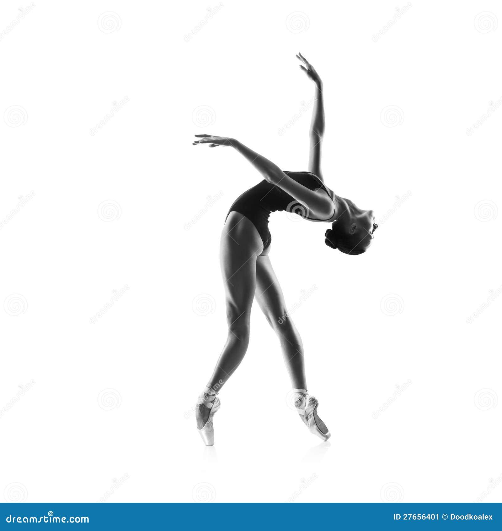 在白色查出的美丽的跳芭蕾舞者