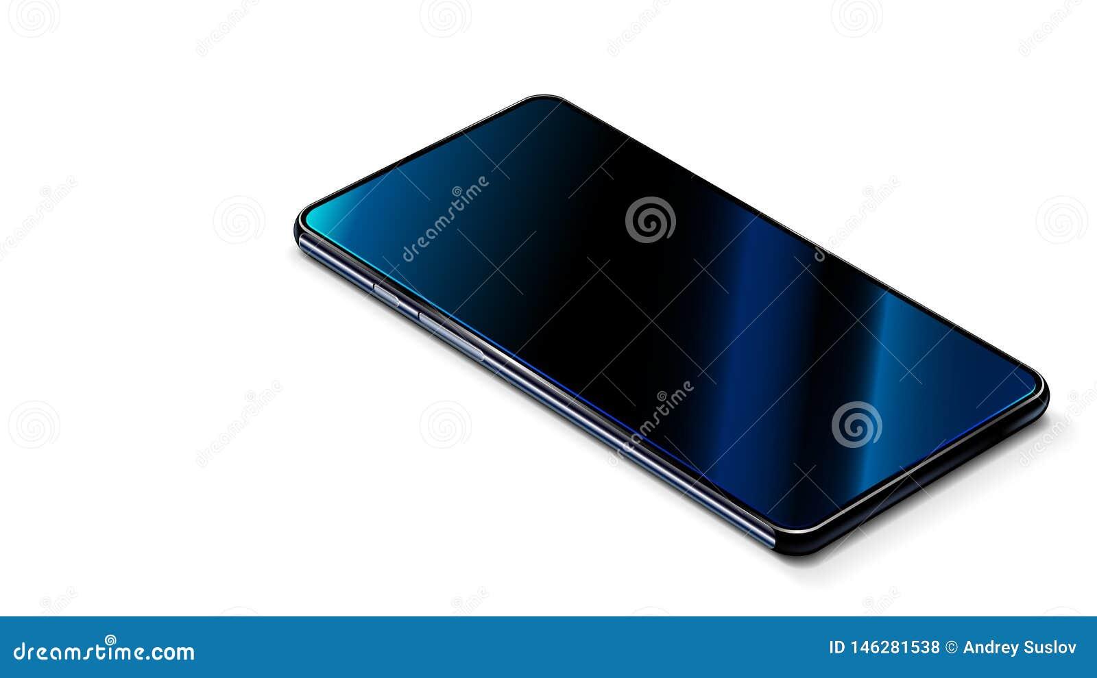 在白色桌上的智能手机现代黑色 r 现实智能手机是触摸屏幕