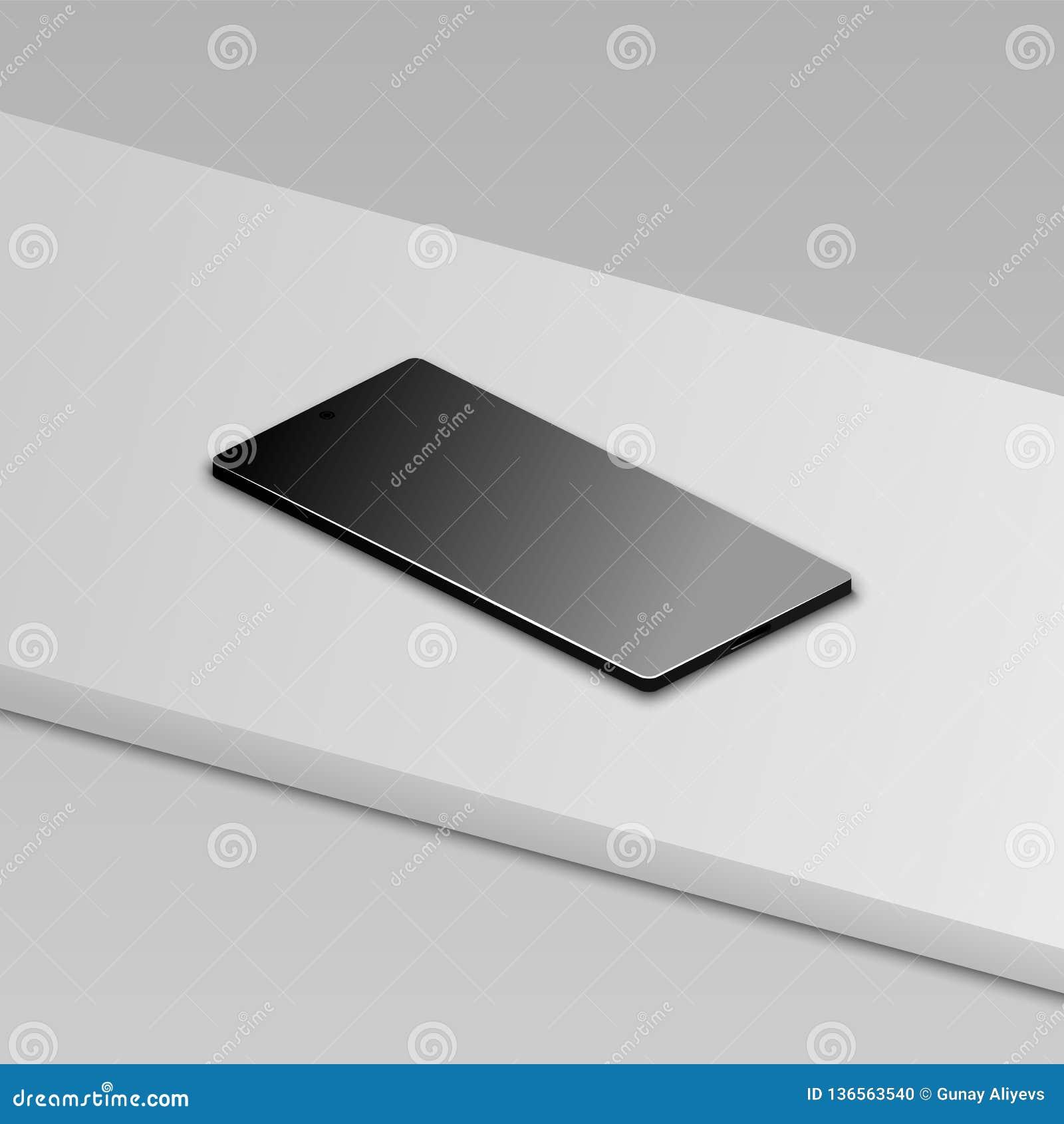 在白色桌上的美好的现代抽象黑智能手机 透视图 现实传染媒介