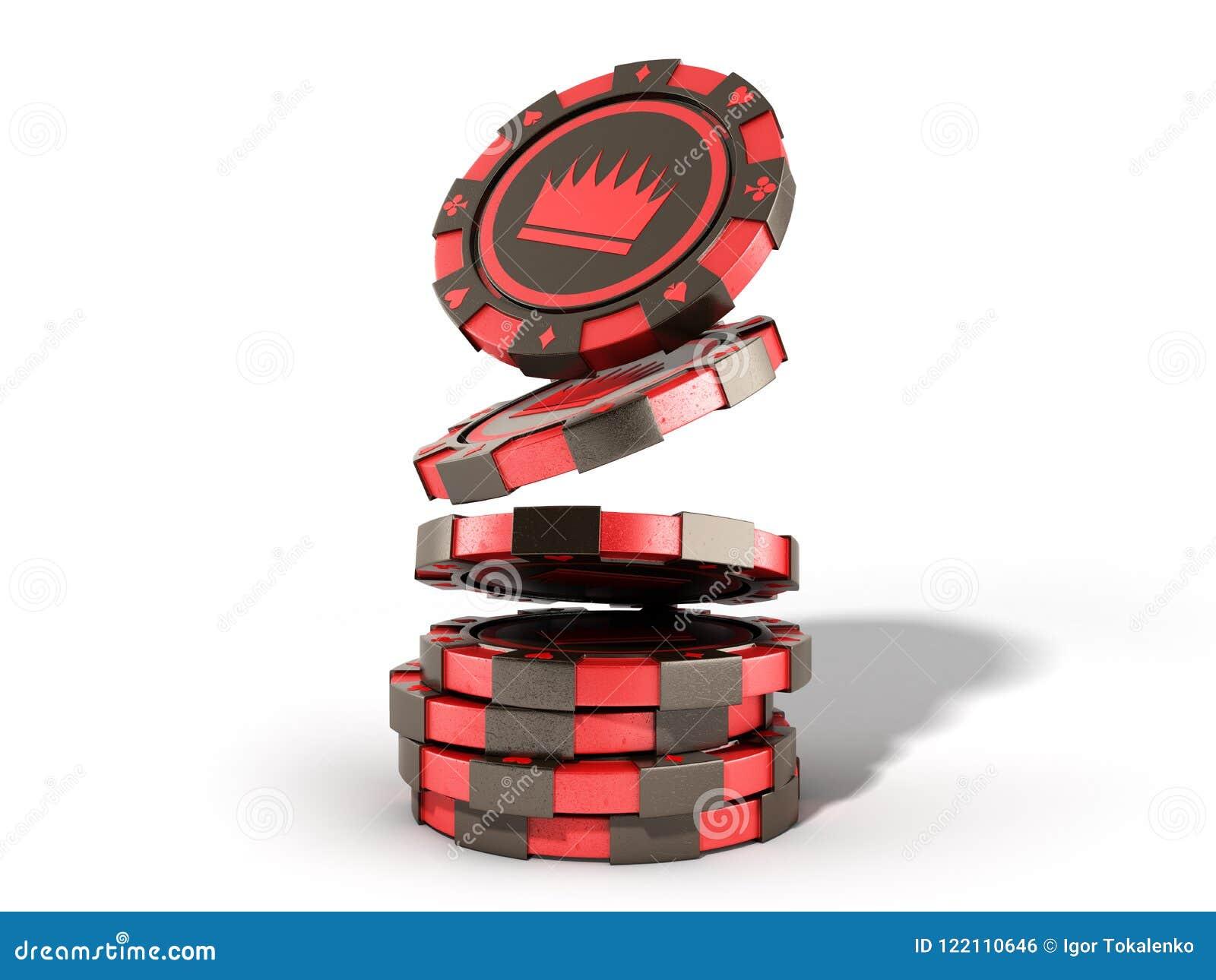 在白色现实3d隔绝的赌博娱乐场红色芯片堆回报obj