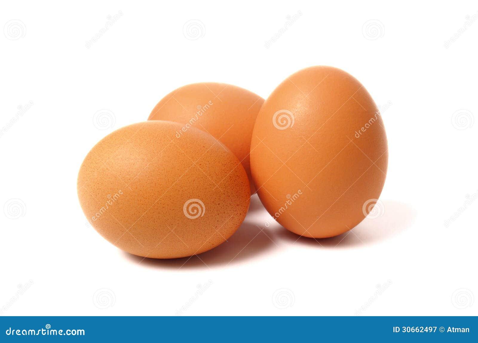 在白色的三个鸡蛋