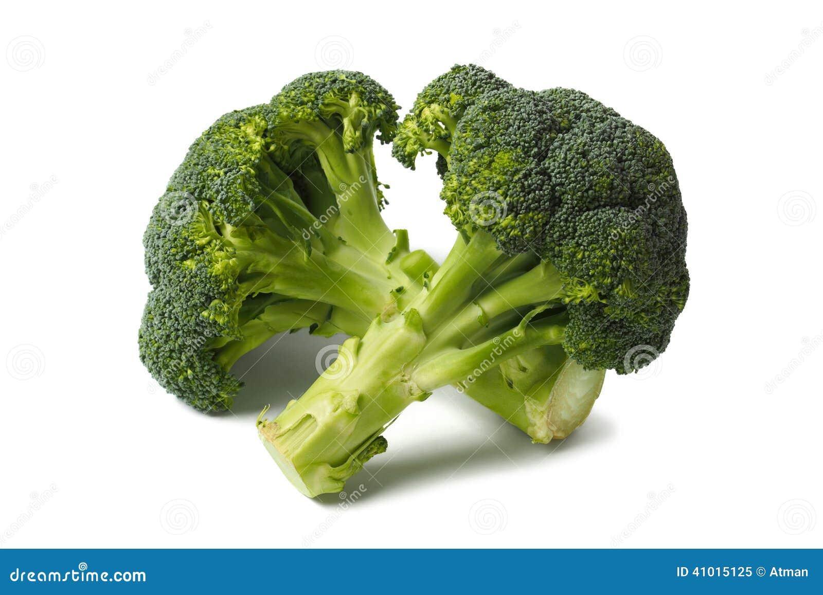 在白色的两broccolies