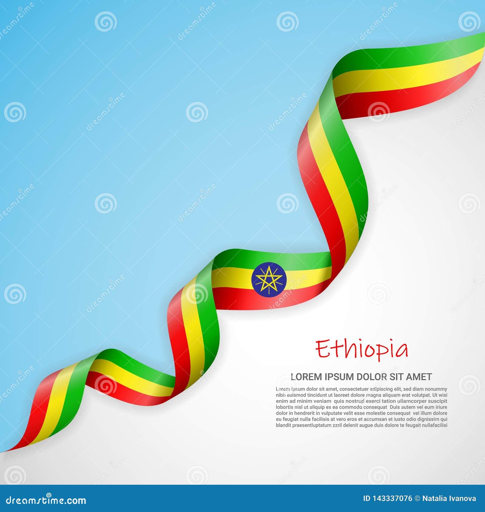 在白色的传染媒介横幅和蓝色和与埃塞俄比亚的旗子的挥动的丝带 海报设计的模板,小册子