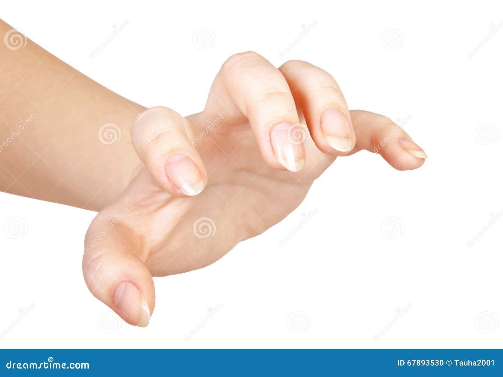在白色的妇女的令人兴奋的手