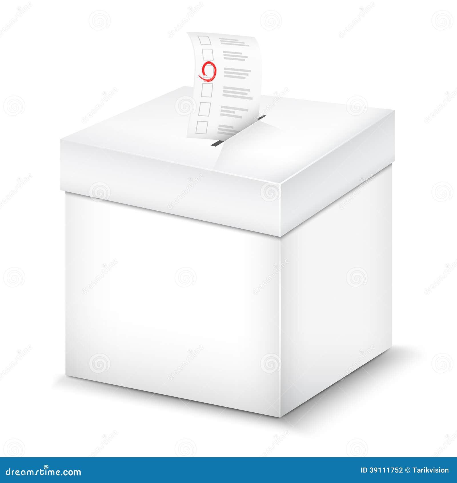 Ŝ�白色的投票箱。 Ő�量例证 ś�片 39111752