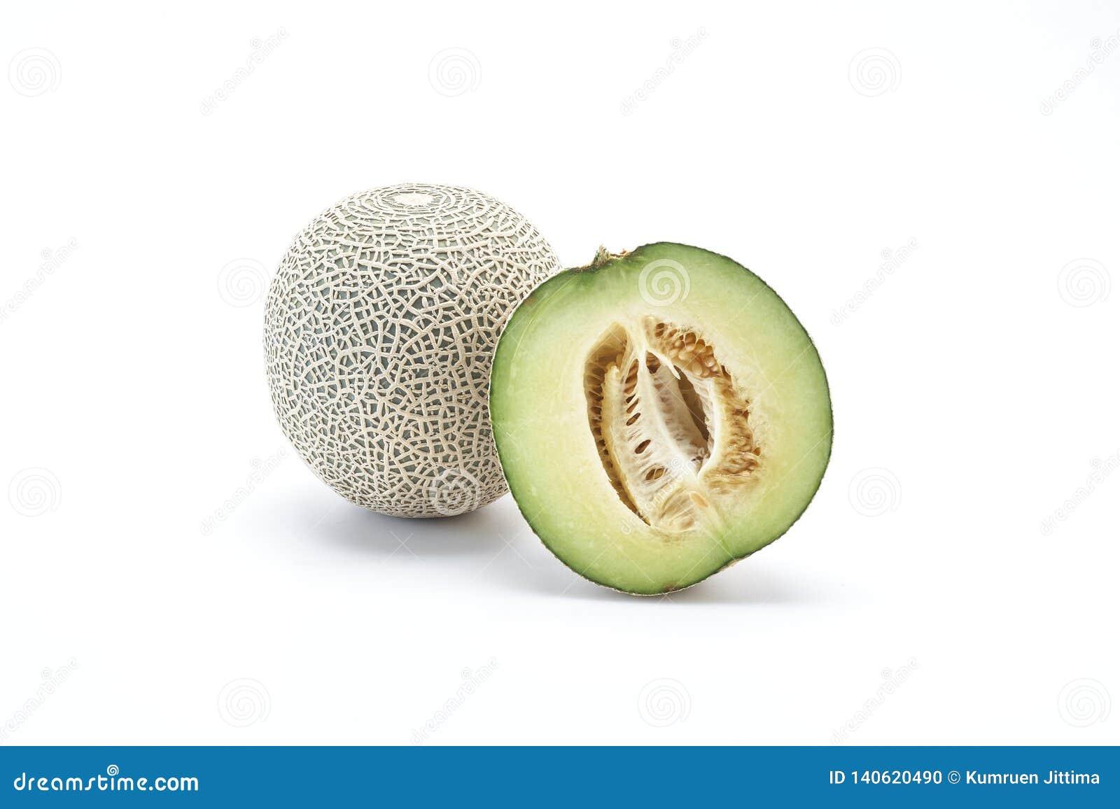 在白色的甜瓜瓜