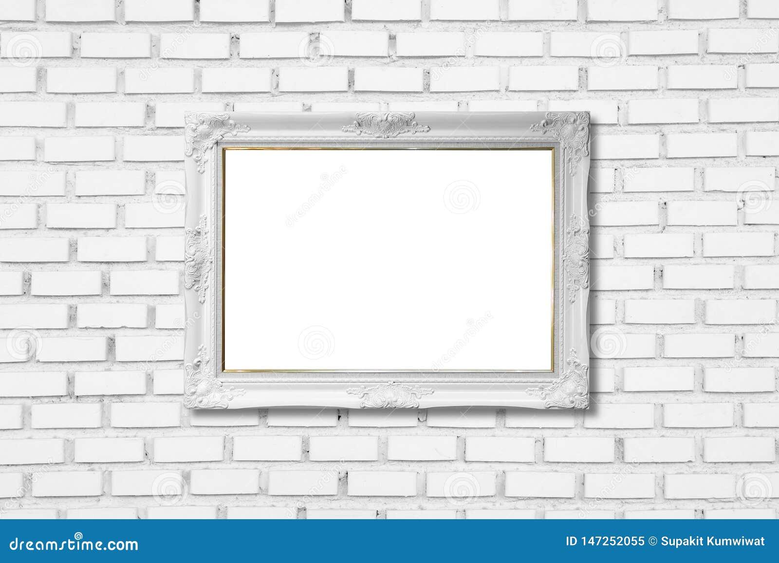 在白色砖墙上的白色框架