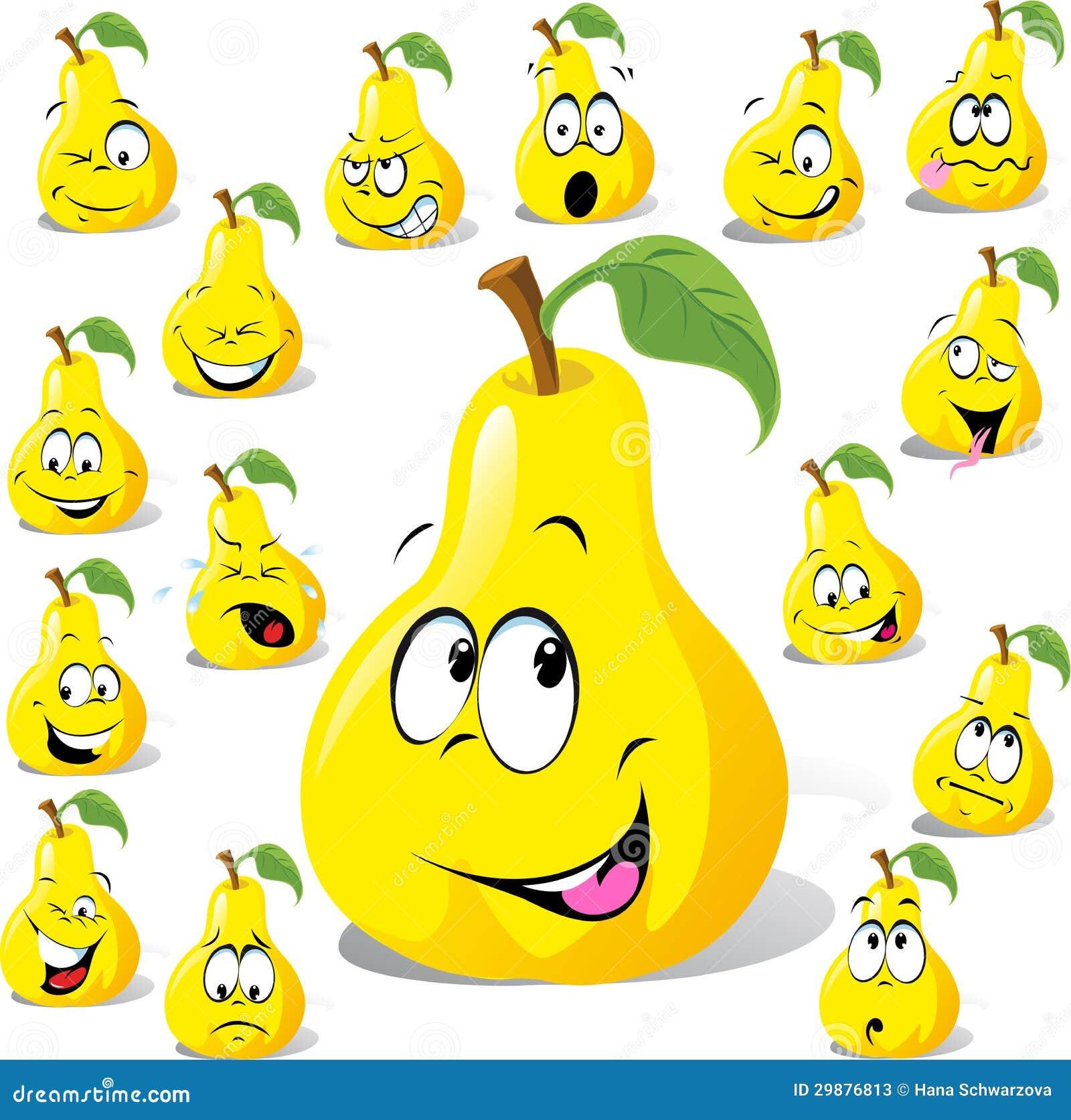 与许多表示的梨动画片