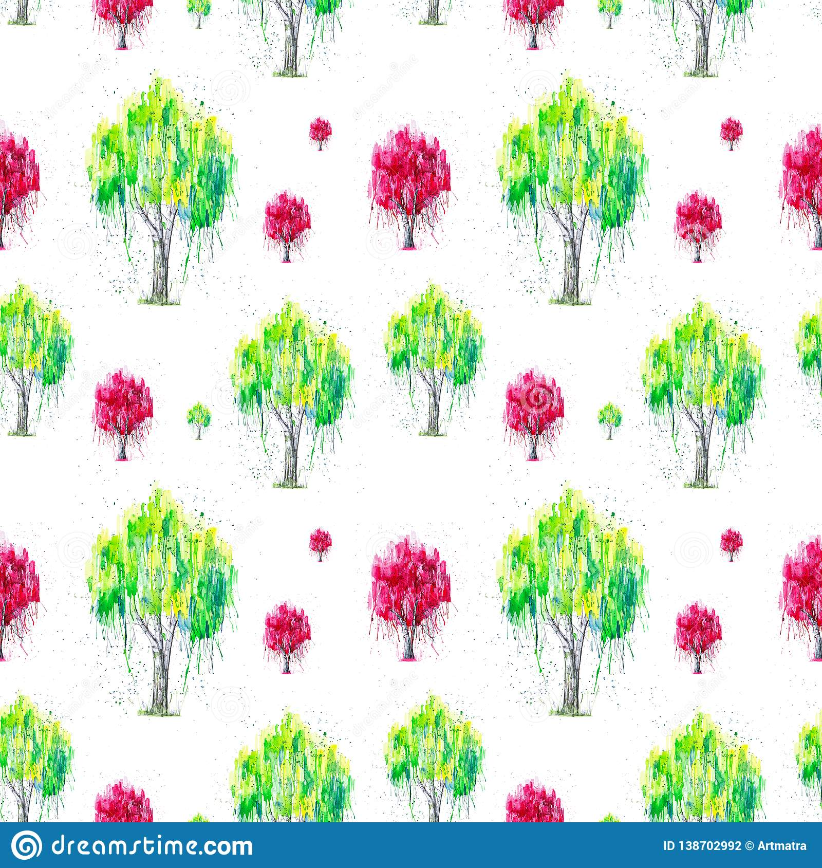 在白色背景与splashis的隔绝的绿色和红色俄国桦树的抽象水彩例证 手画