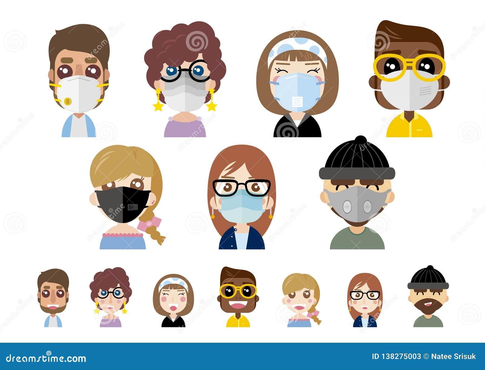 在白色背景传染媒介例证的人佩带的防尘面具