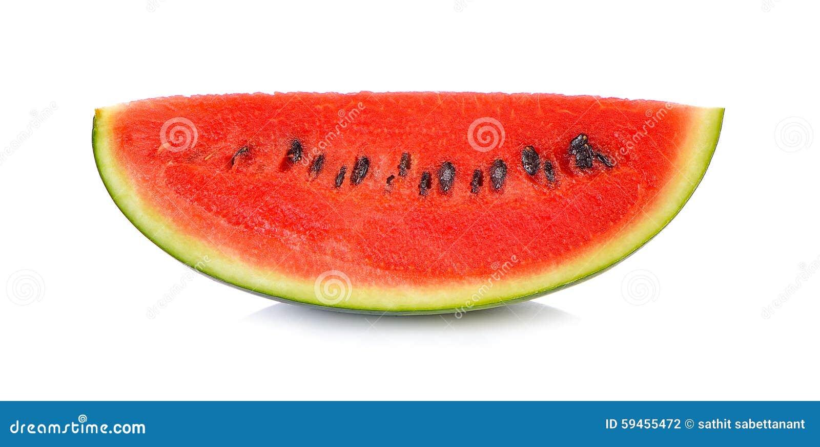 在白色背景保险开关隔绝的切的成熟西瓜