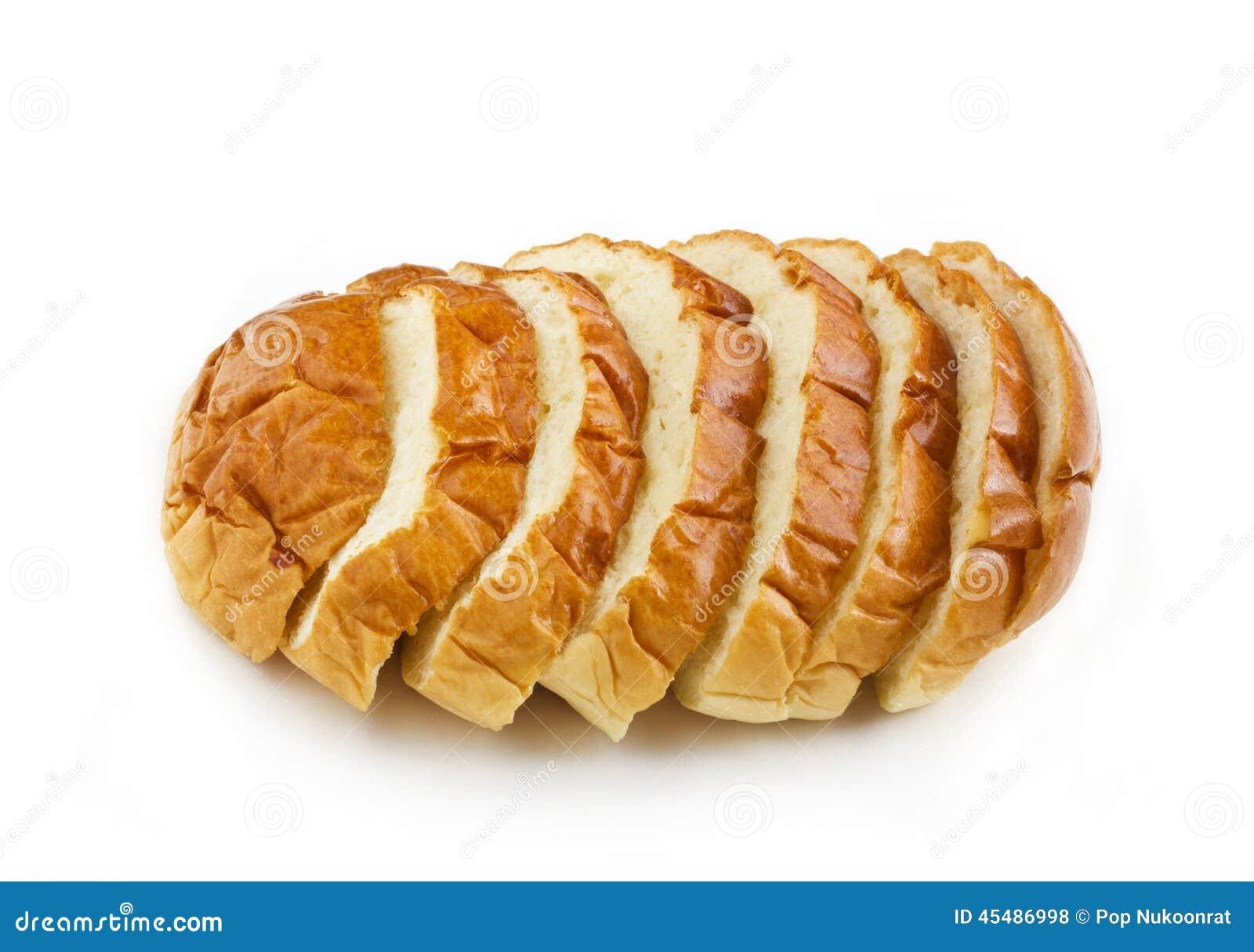 在白色背景切片隔绝的裁减面包