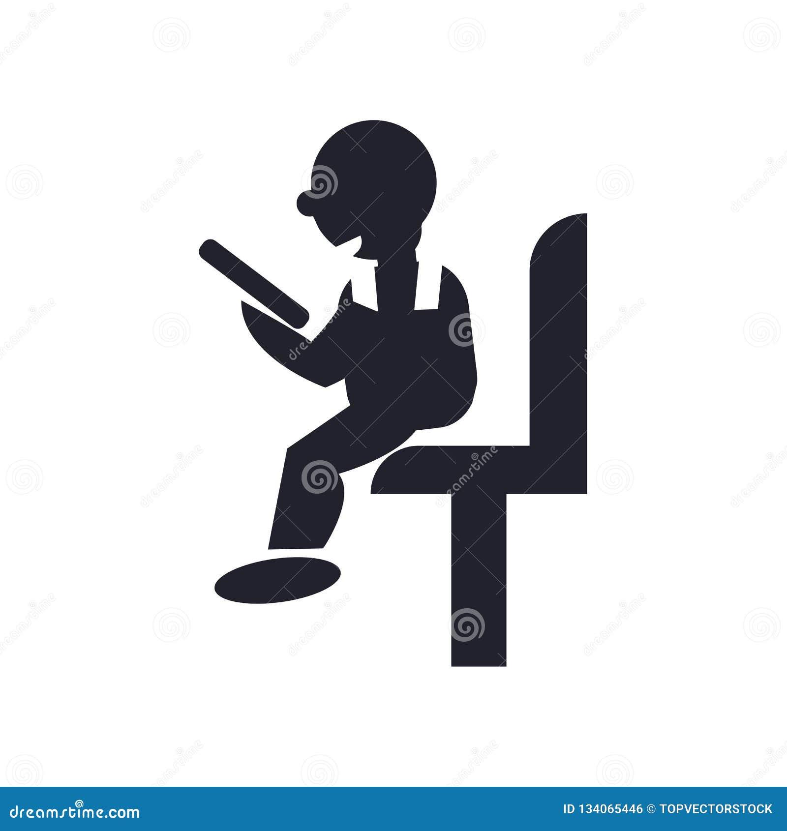 在白色背景和标志隔绝的坐的人读书象传染媒介标志,坐的人读书商标概念
